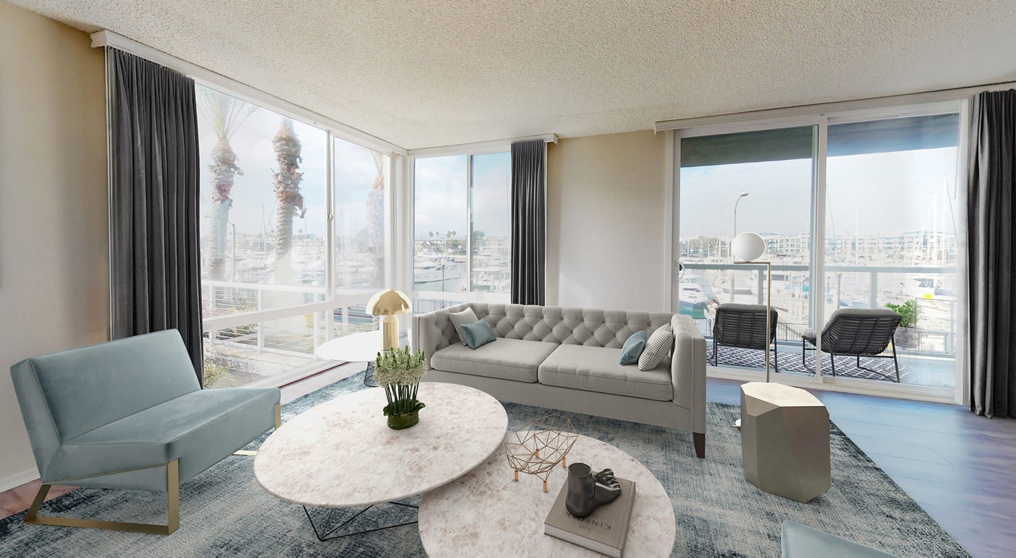 Spacious and well-furnished open-concept apartment home at Waters Edge at Marina Harbor in Marina Del Rey, California