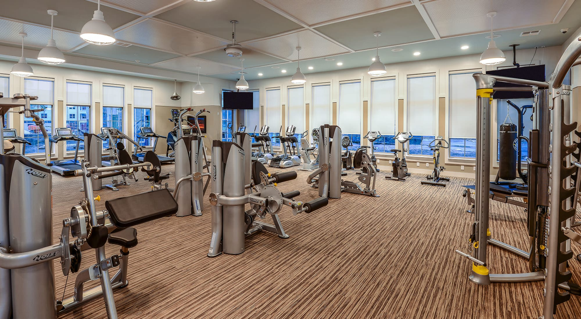 Well-equipped onsite fitness center at Palm Bay Club in Jacksonville, Florida