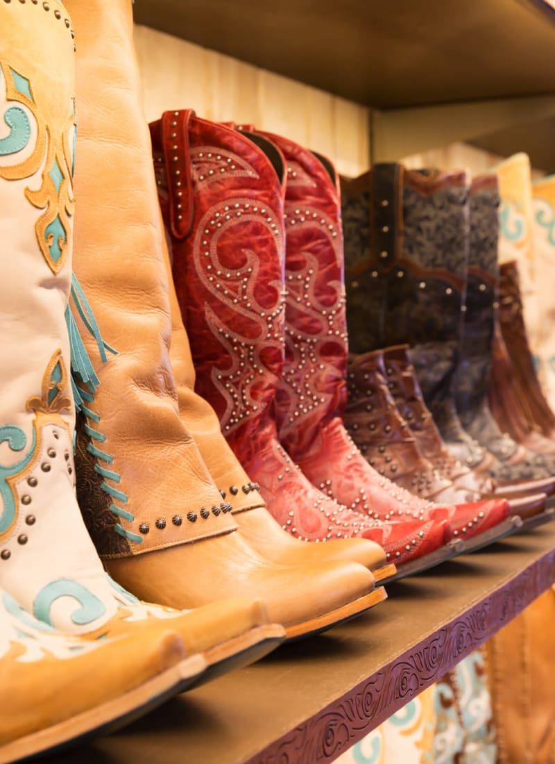 Cowboy boots at a store near Marquis at Lantana in Flower Mound, Texas