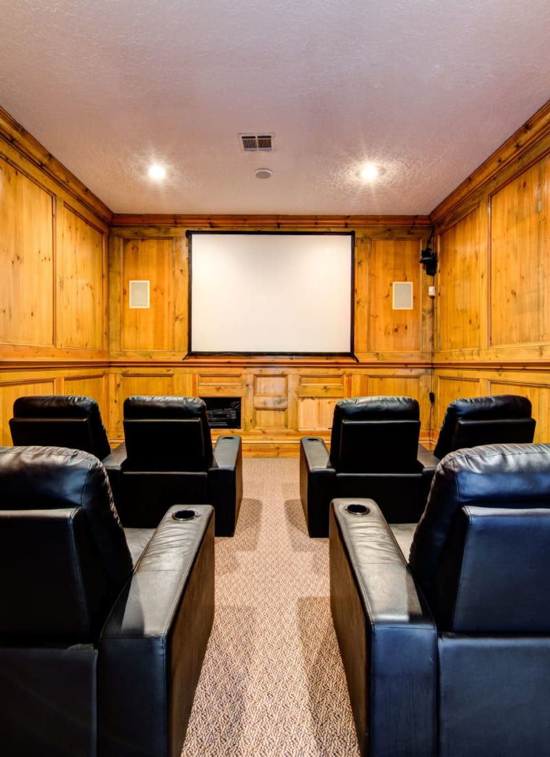 Community theater room at Marquis at Silverton in Cary, North Carolina