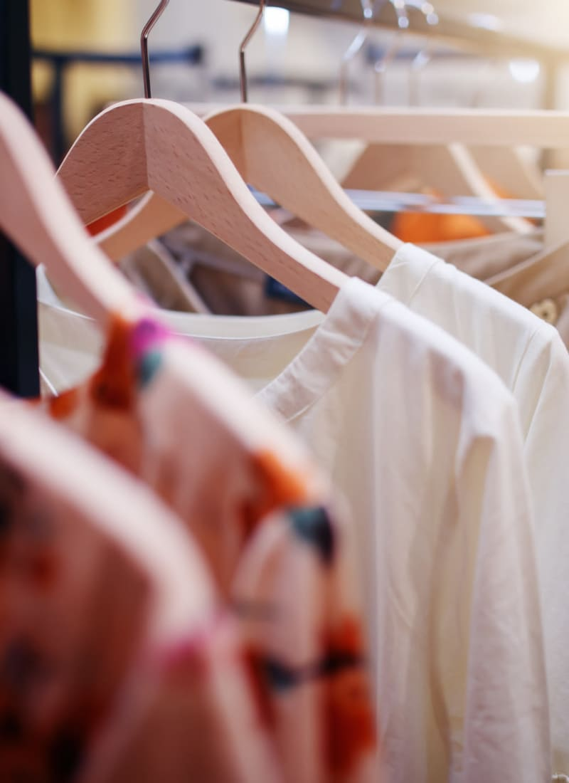 Women's clothing rack in local boutique in Charlotte, North Carolina from Marquis at Carmel Commons