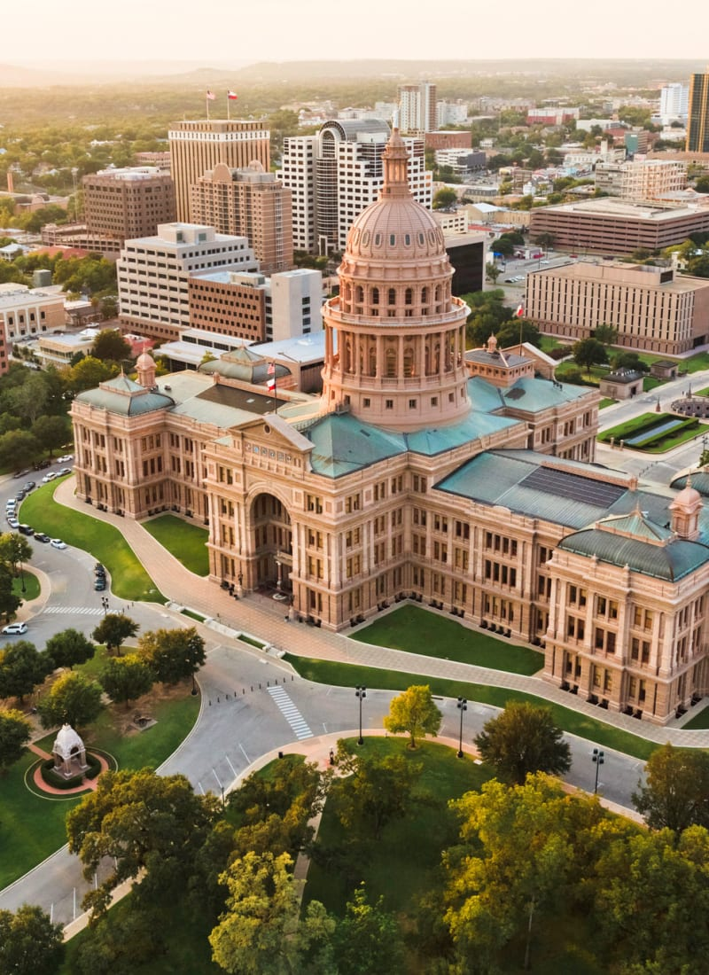 Aerial view of Austin, Texas from Marquis at Caprock Canyon