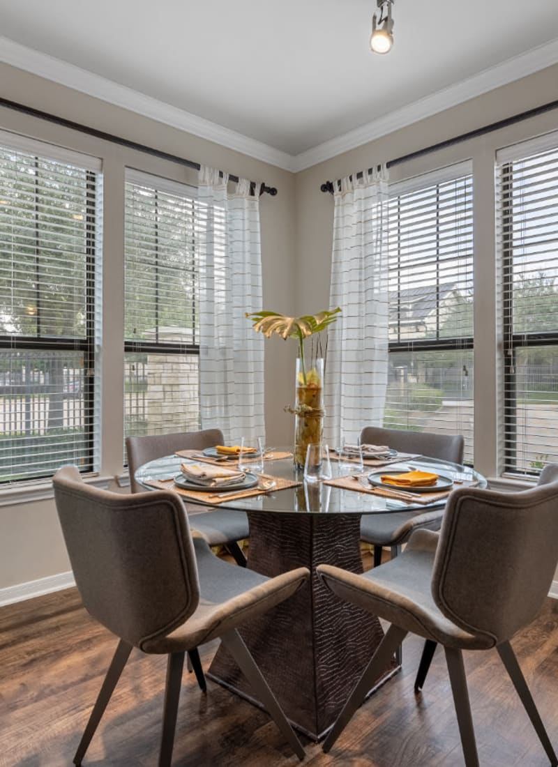 Kitchen table in apartment home at Marquis at Sugar Land in Sugar Land, Texas
