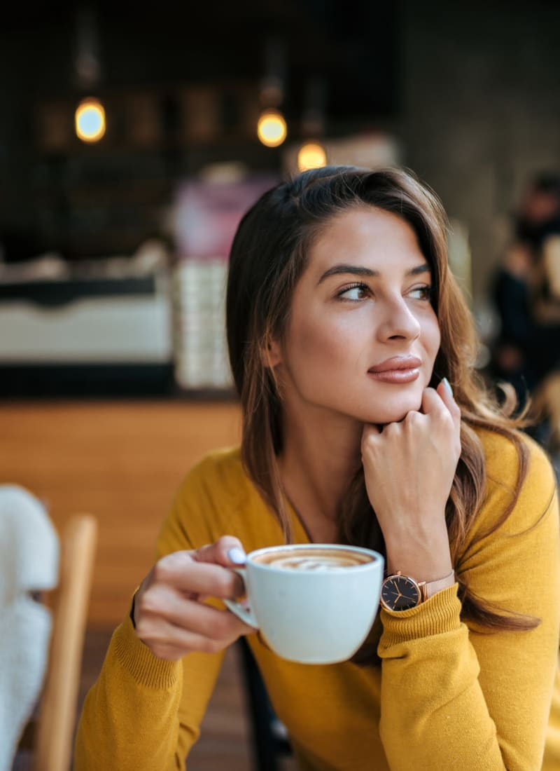Resident drink coffee near Marquis at Sugar Land in Sugar Land, Texas