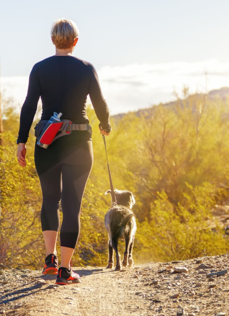 Resident walking her dog near Marquis at Crown Ridge in San Antonio, Texas
