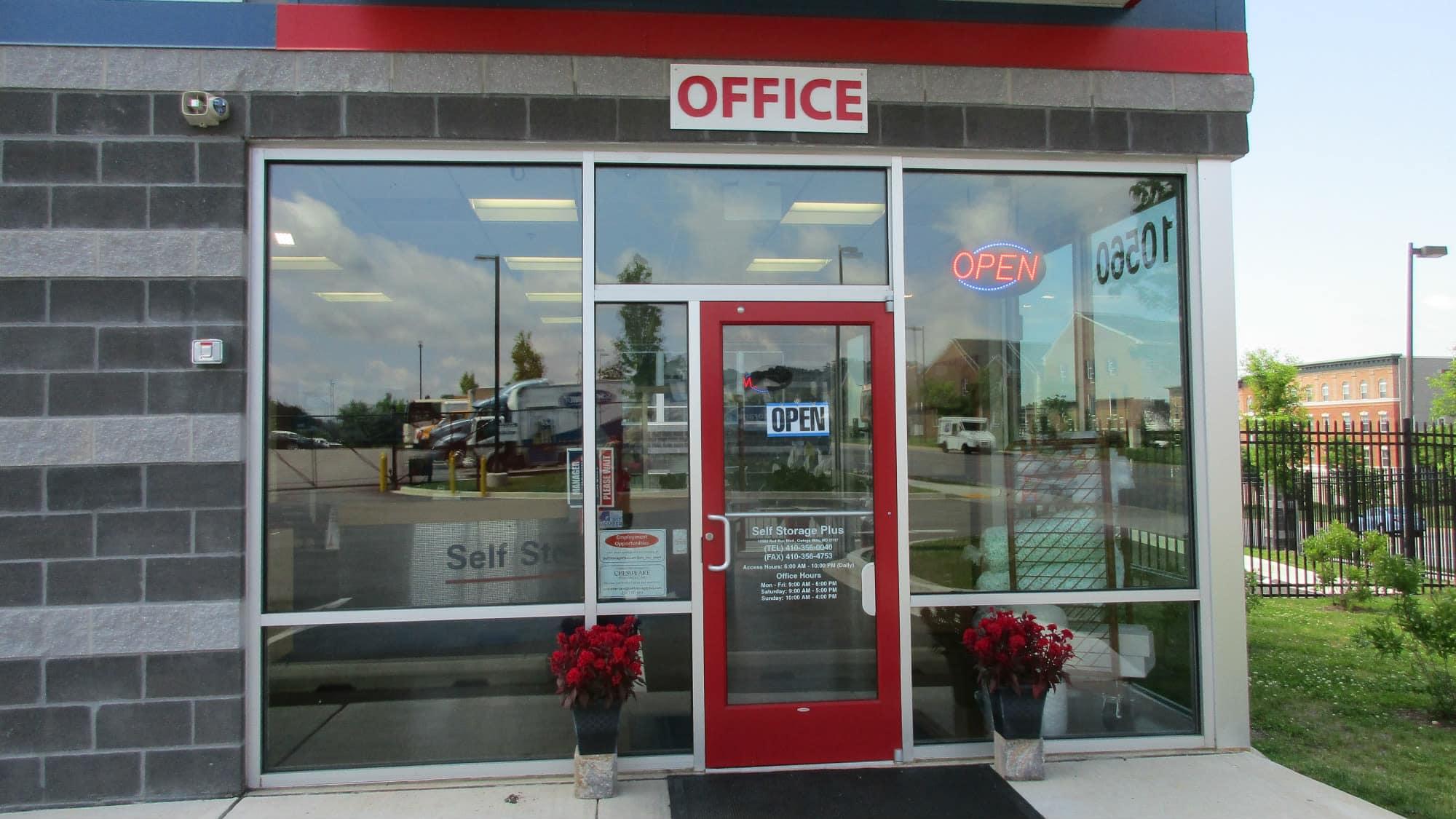 Front door to Self Storage Plus in Owings Mills