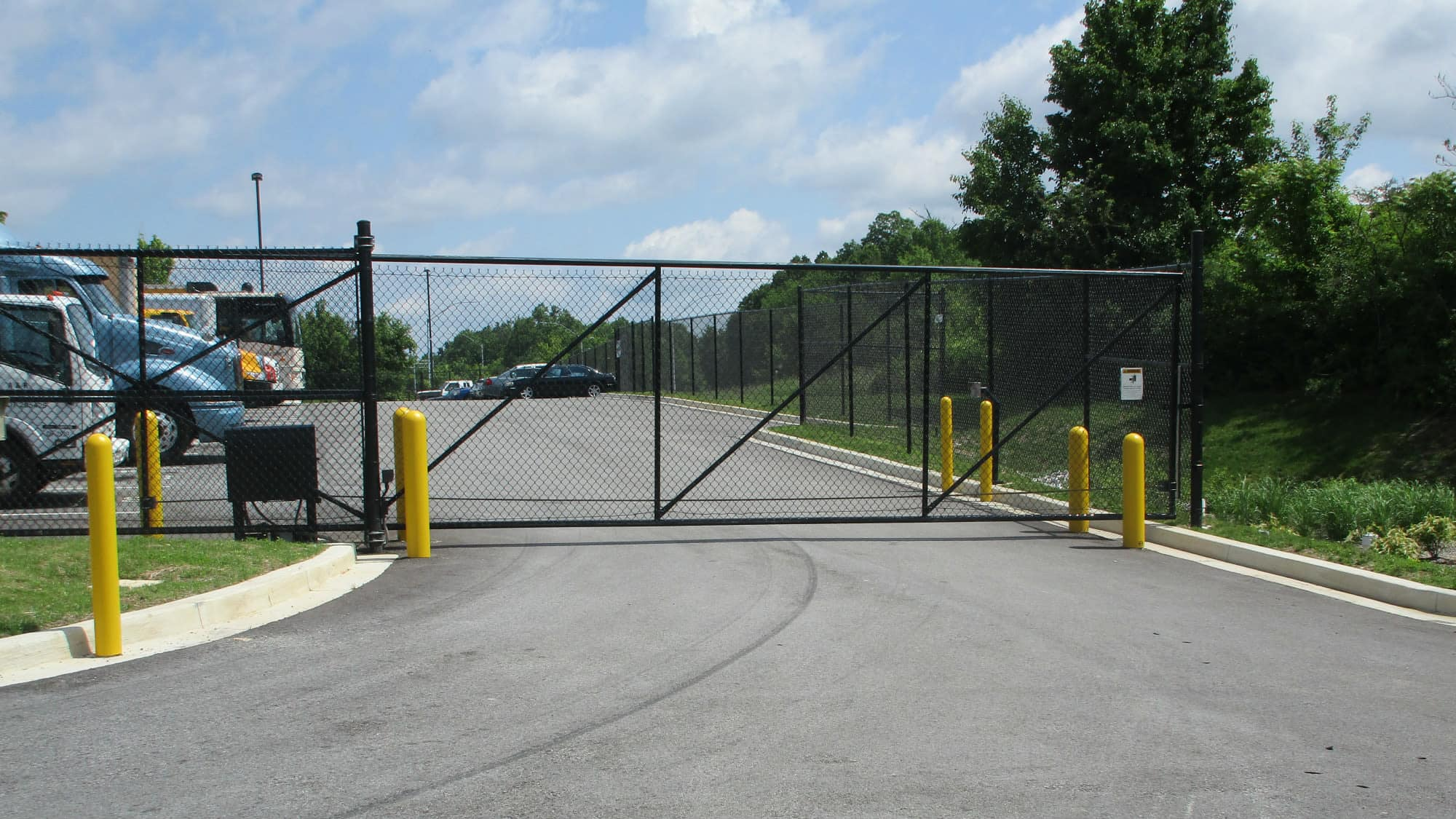 Gated entrance at Self Storage Plus in Cockeysville, Maryland