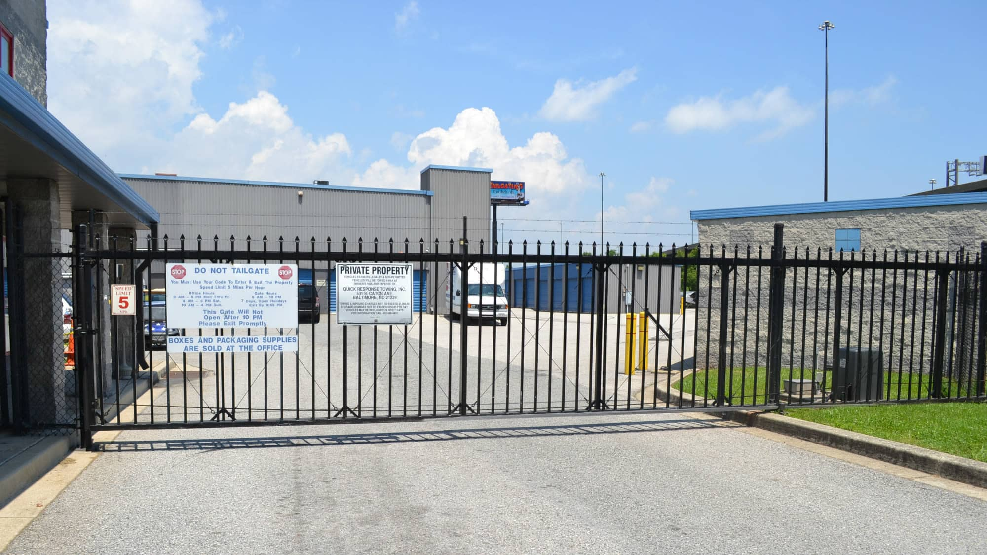Gated entrance to Self Storage Plus in Baltimore, MD