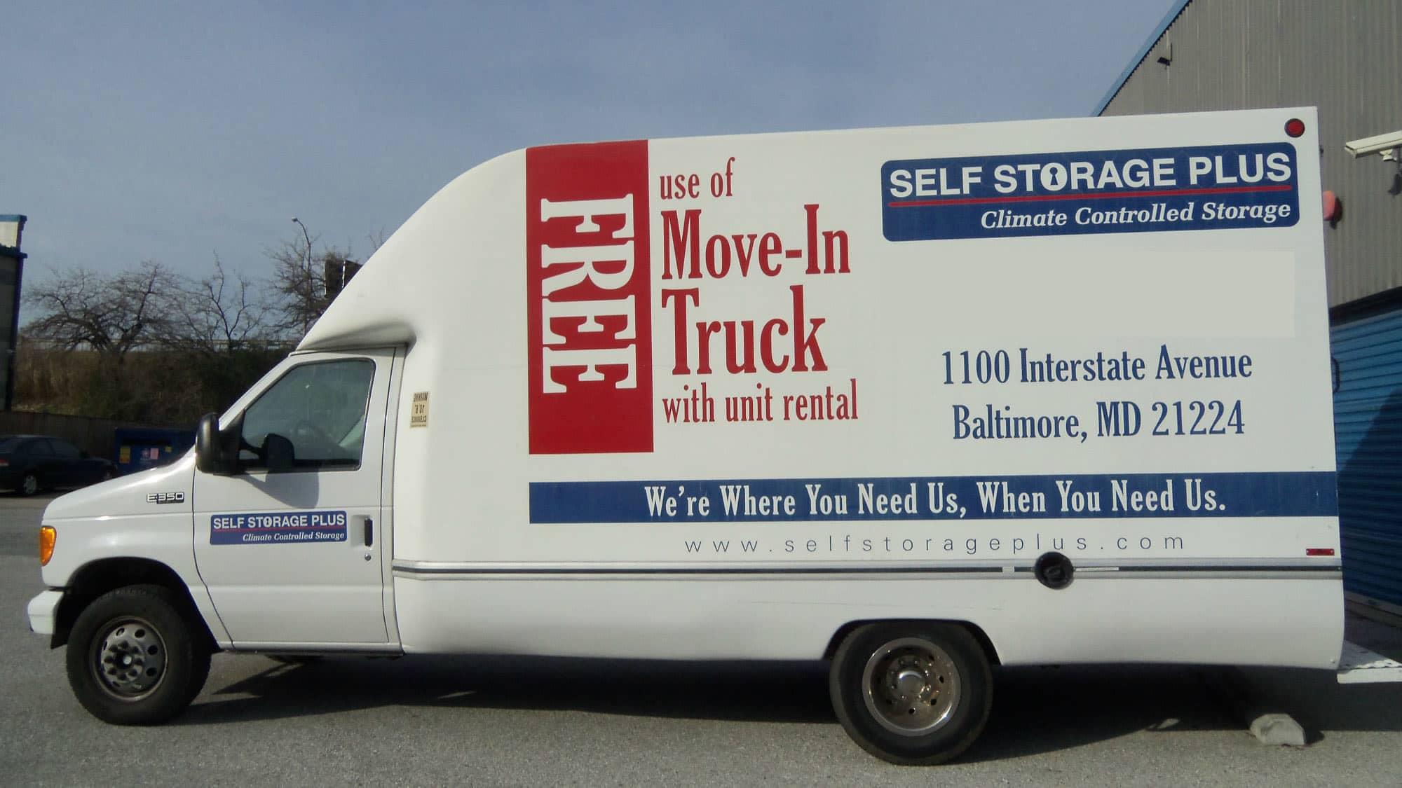 Moving van at Self Storage Plus in Baltimore, MD