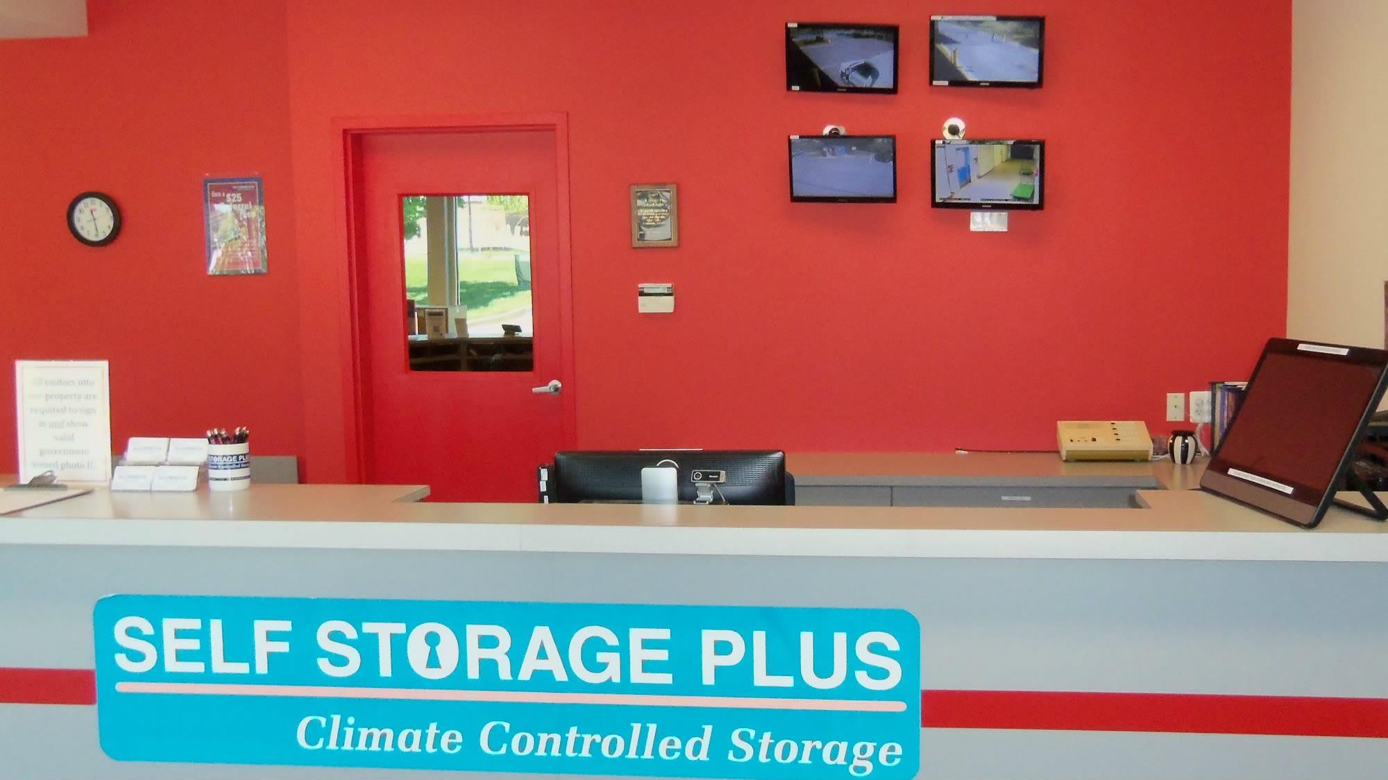 Leasing desk at Self Storage Plus in Walkersville, MD