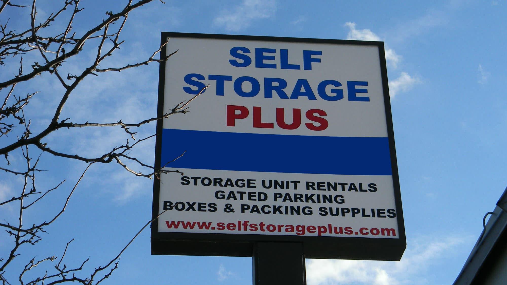 Welcome sign at Self Storage Plus in Alexandria, VA