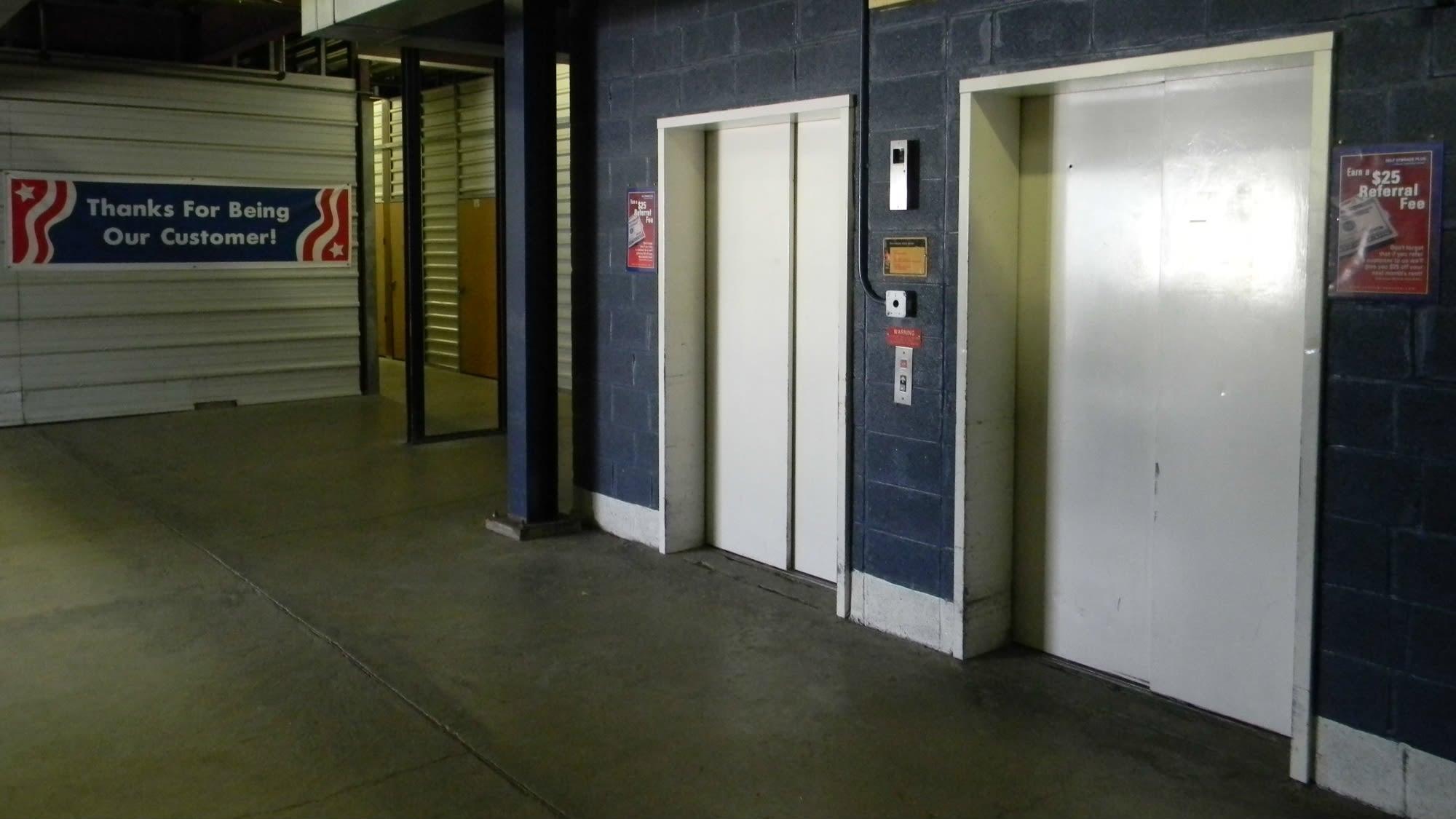 Elevator access at Self Storage Plus in Alexandria, VA