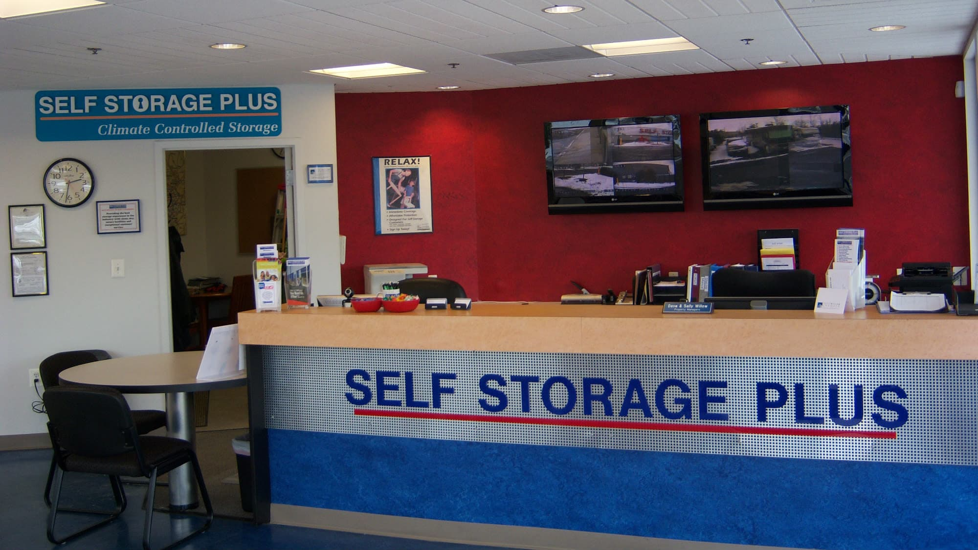 Leasing desk at Self Storage Plus in Manassas, VA