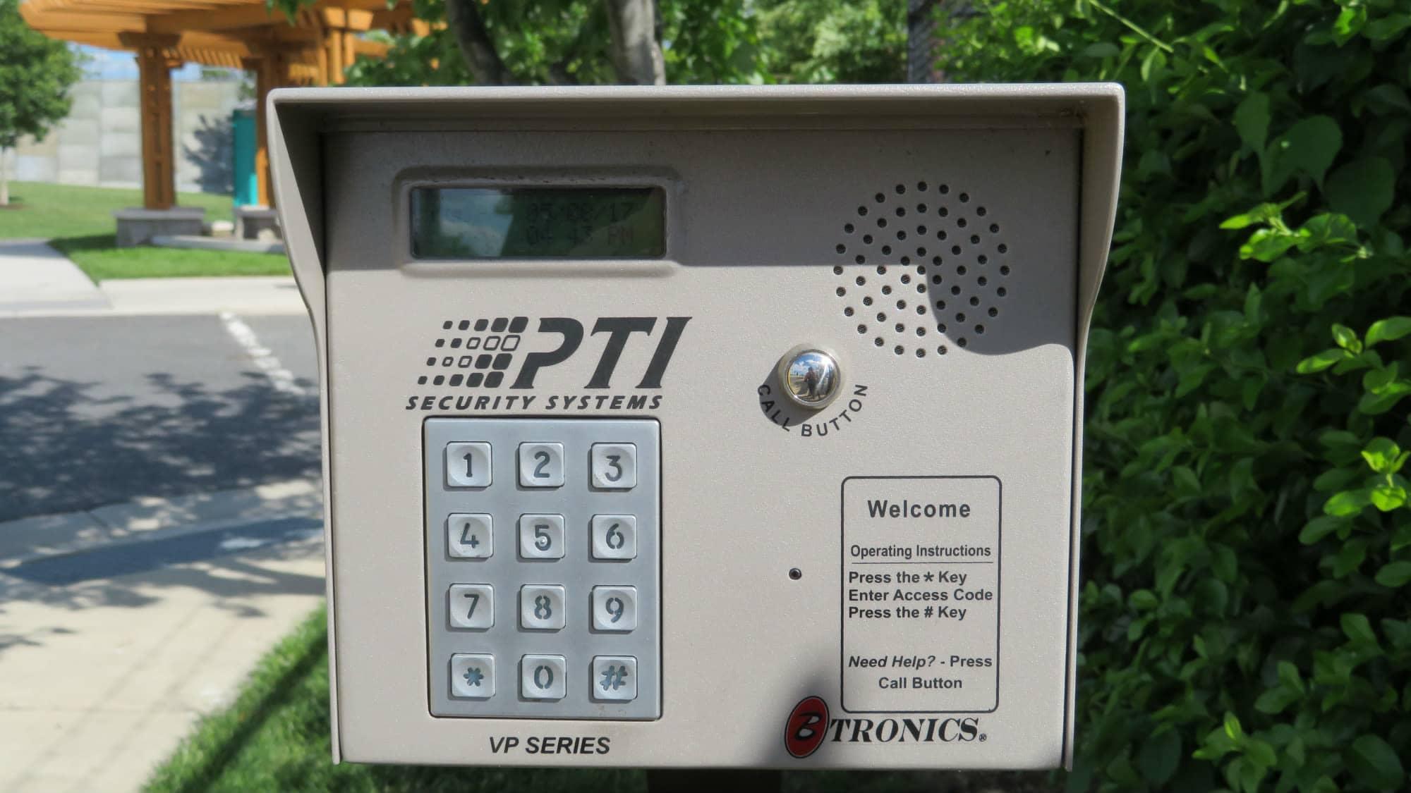 Keypad for the gate at Self Storage Plus in Arlington, VA