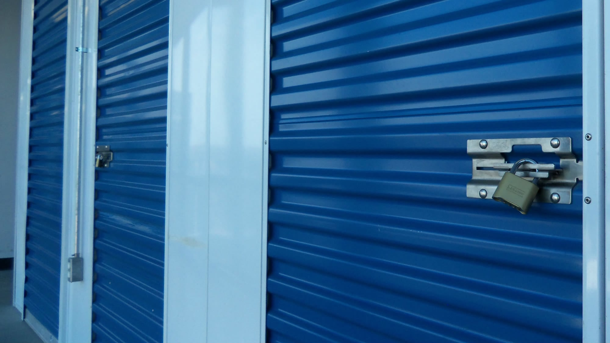 Blue storage door at Self Storage Plus in Arlington, VA