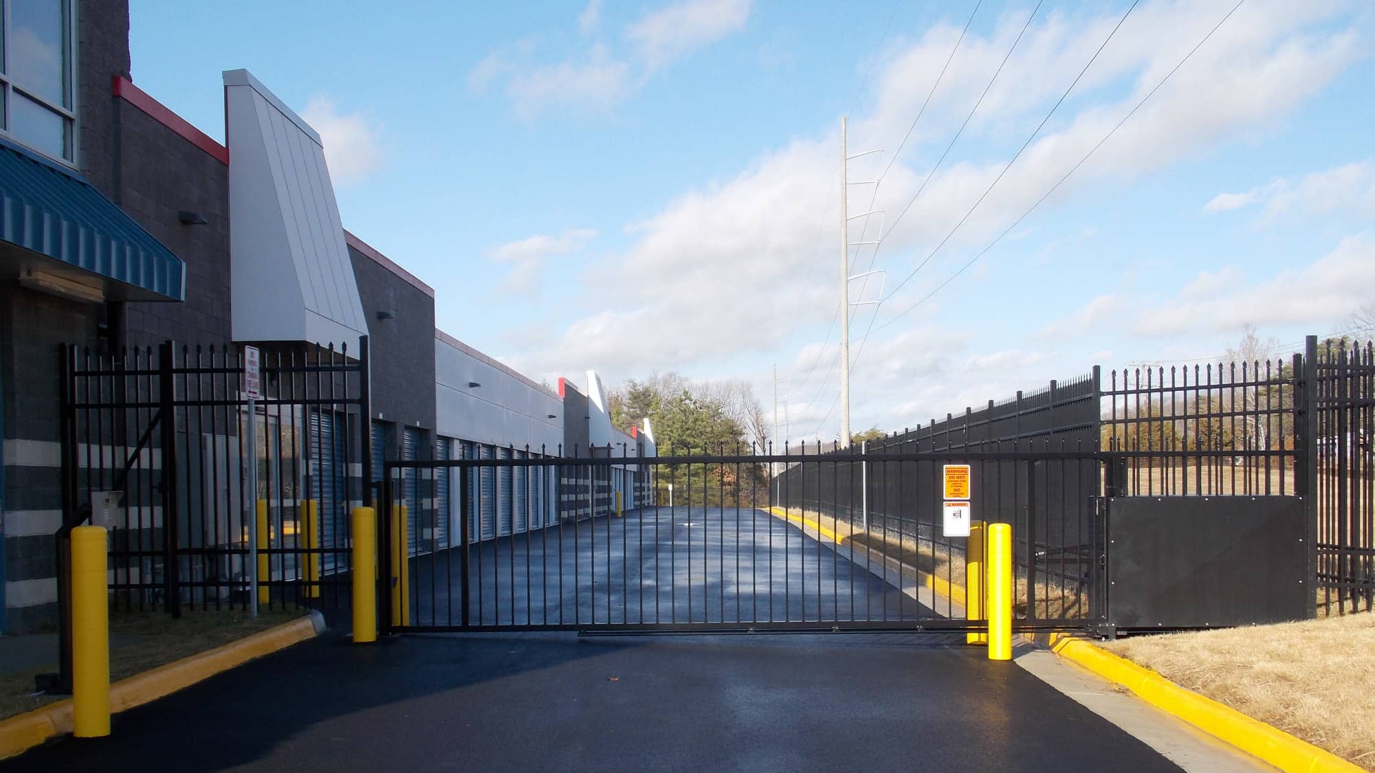 Entrance gate to Self Storage Plus in Fredericksburg, Virginia
