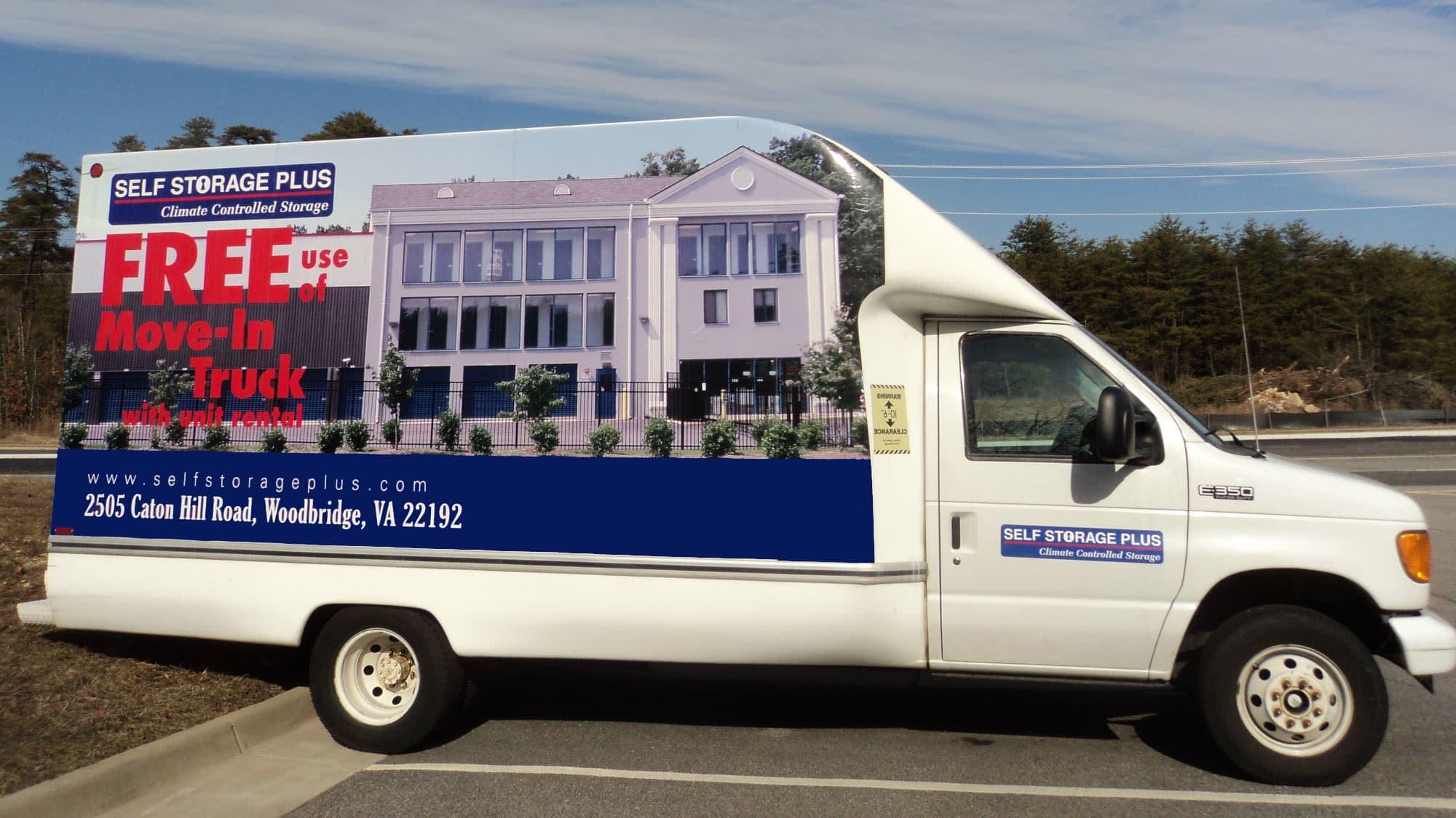 moving truck at Self Storage Plus in Woodbridge, VA
