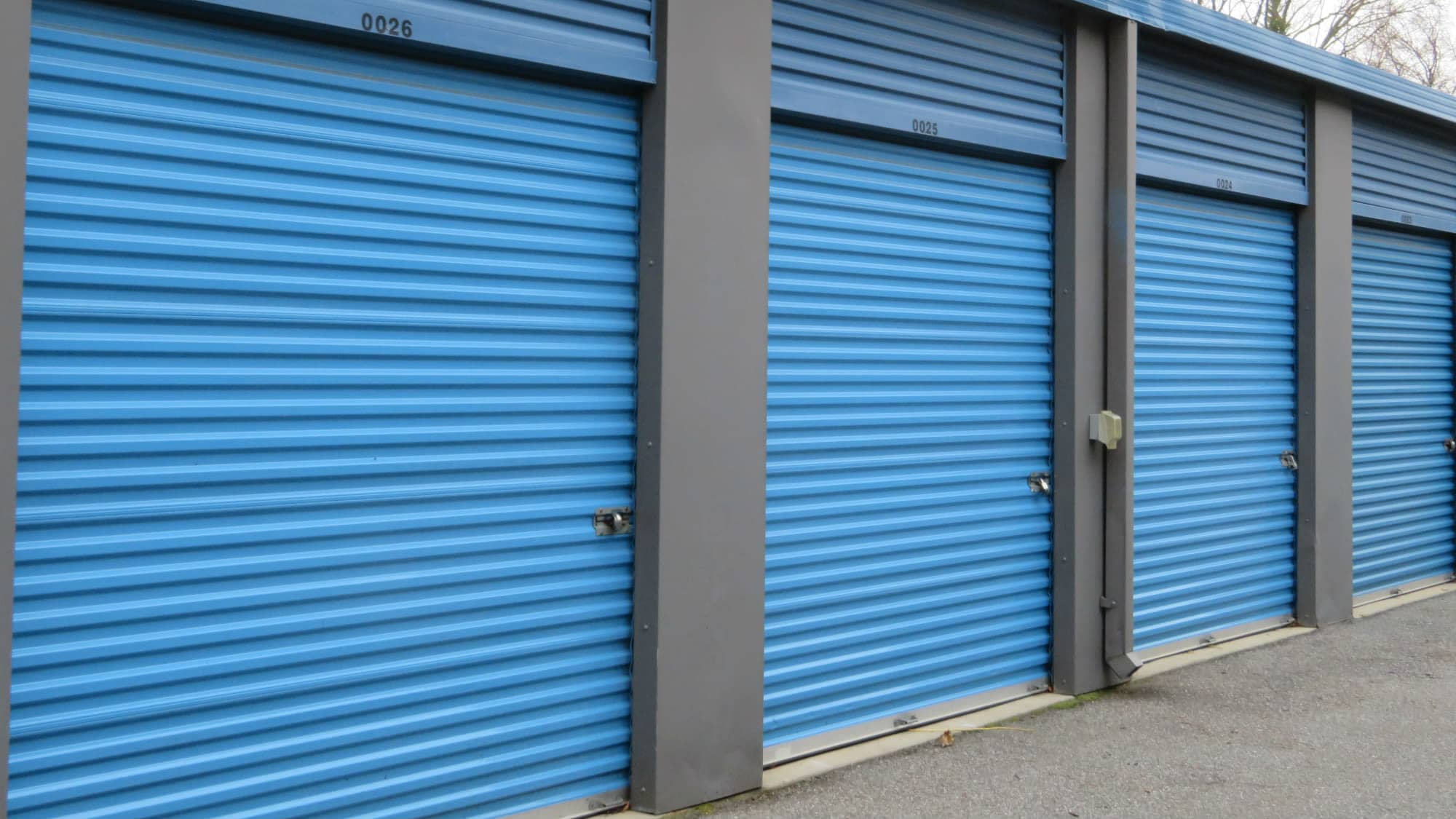 Roll-up doors at Self Storage Plus in Gambrills, MD