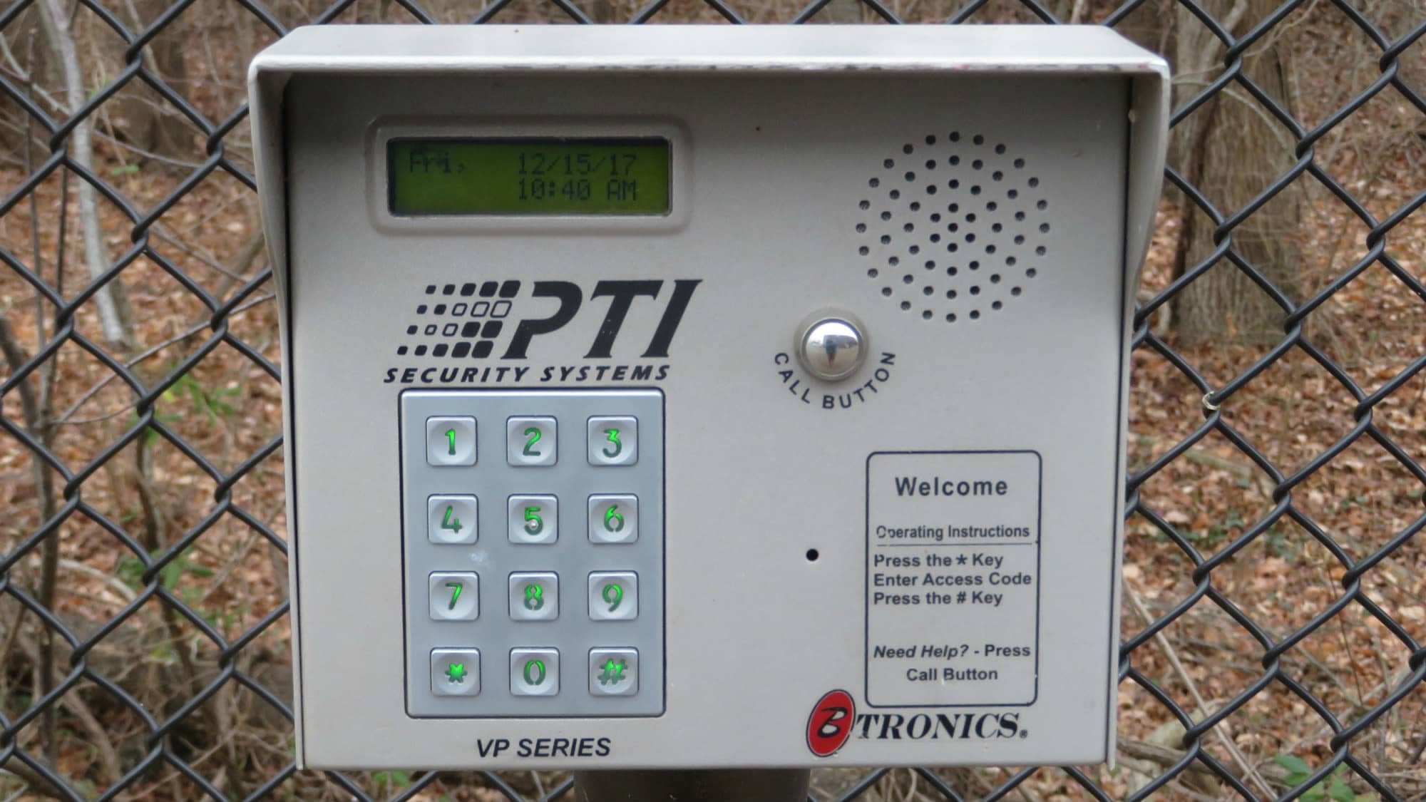 Keypad for the gate at Self Storage Plus in Gambrills, MD