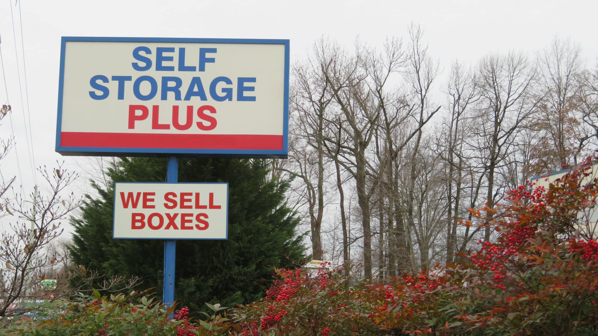 Welcome sign at Self Storage Plus in Gambrills, MD