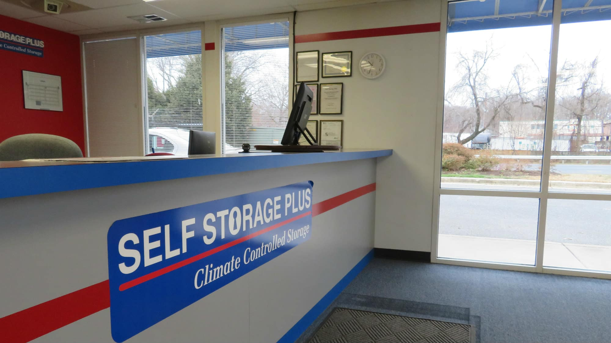 Leasing desk at Self Storage Plus in Gambrills, MD
