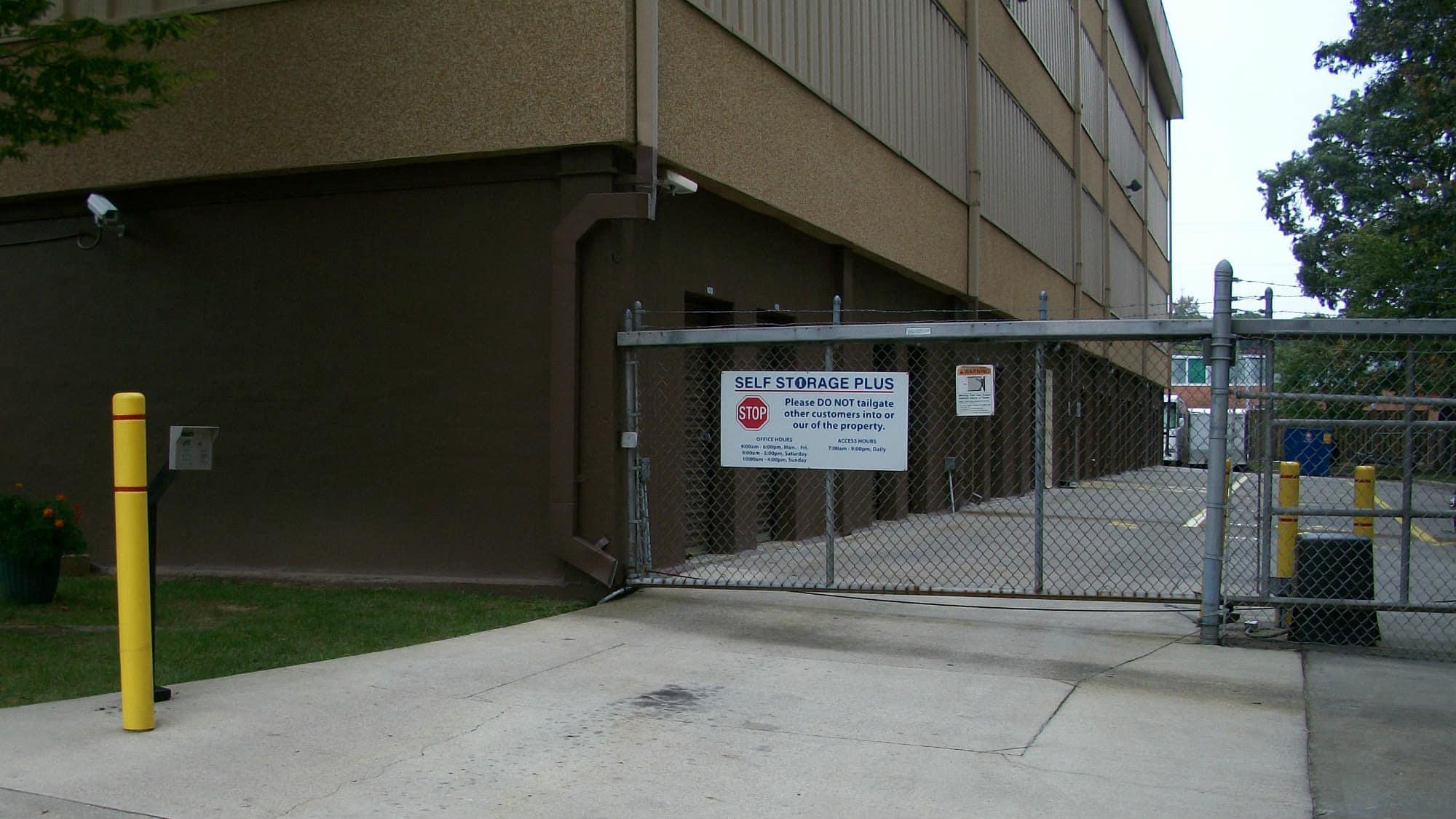 Entrance gate at Self Storage Plus in Lanham, MD