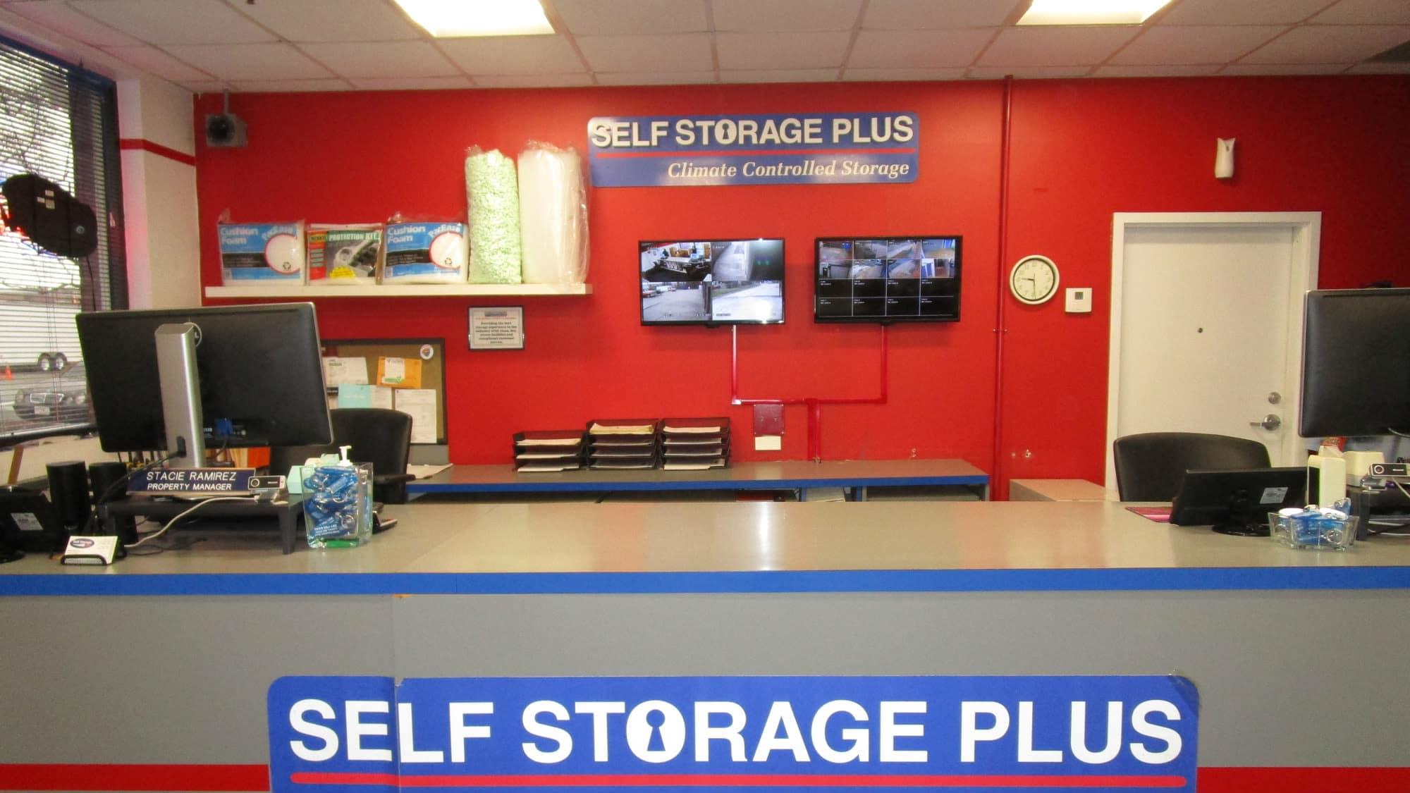 Leasing desk at Self Storage Plus in Lanham, MD