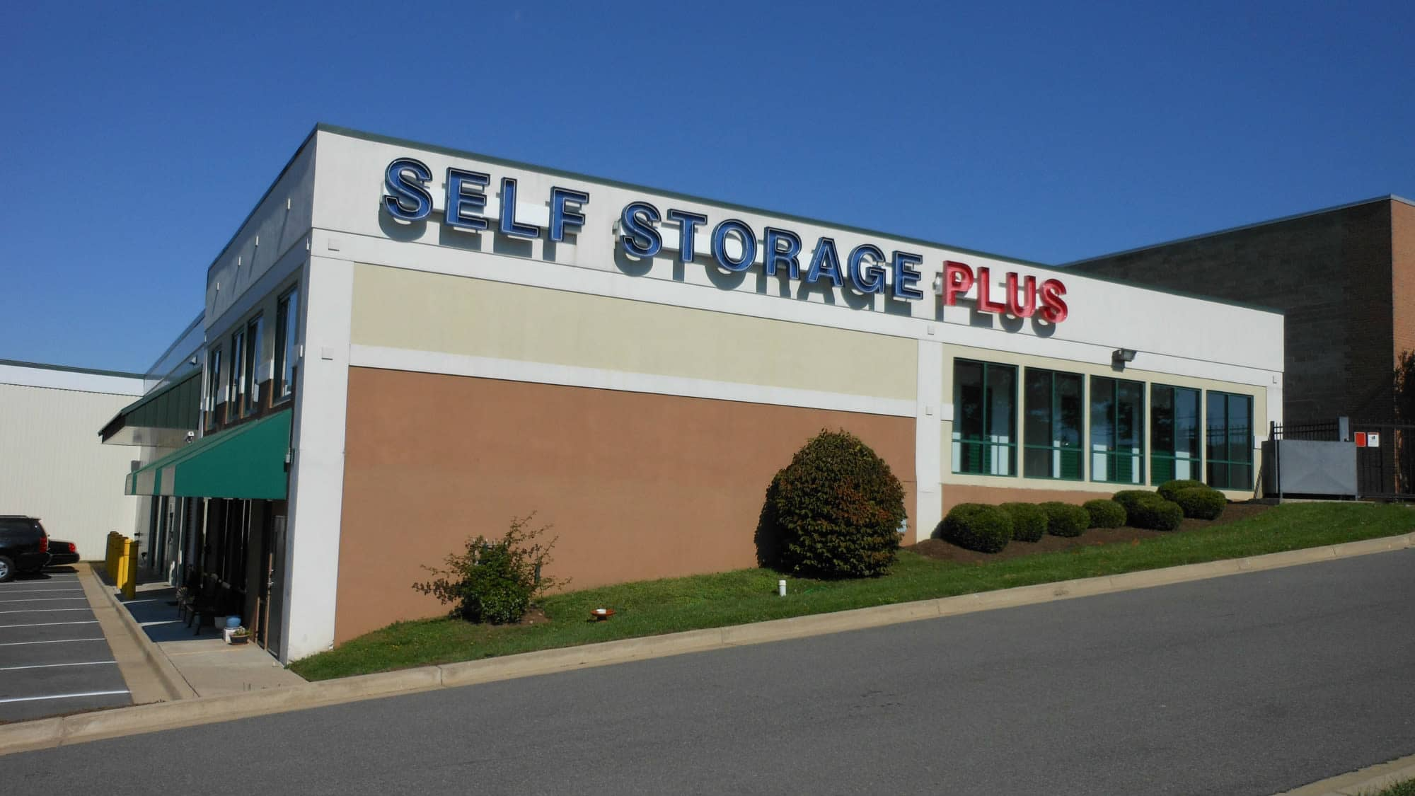 Sign on the sign of the Self Storage Plus building in Rockville, MD