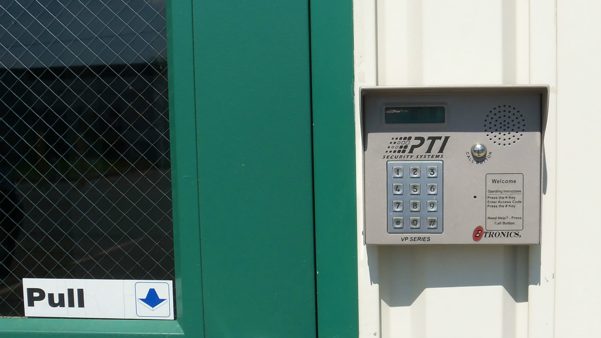 Keypad entrance to Self Storage Plus in Rockville, MD
