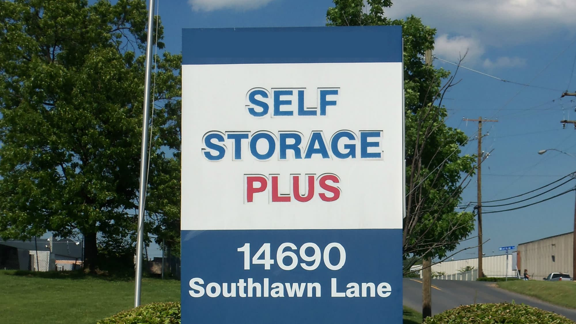 Welcome sign at Self Storage Plus in Rockville, MD