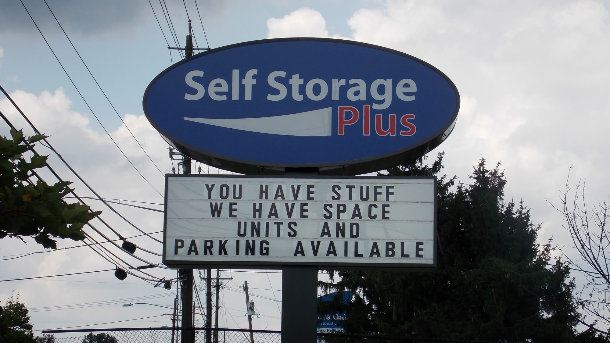 Welcome sign at Self Storage Plus in Silver Spring, MD