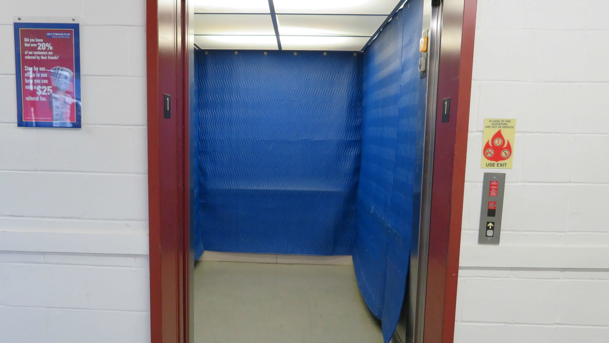 Elevator access at Self Storage Plus in Silver Spring, MD