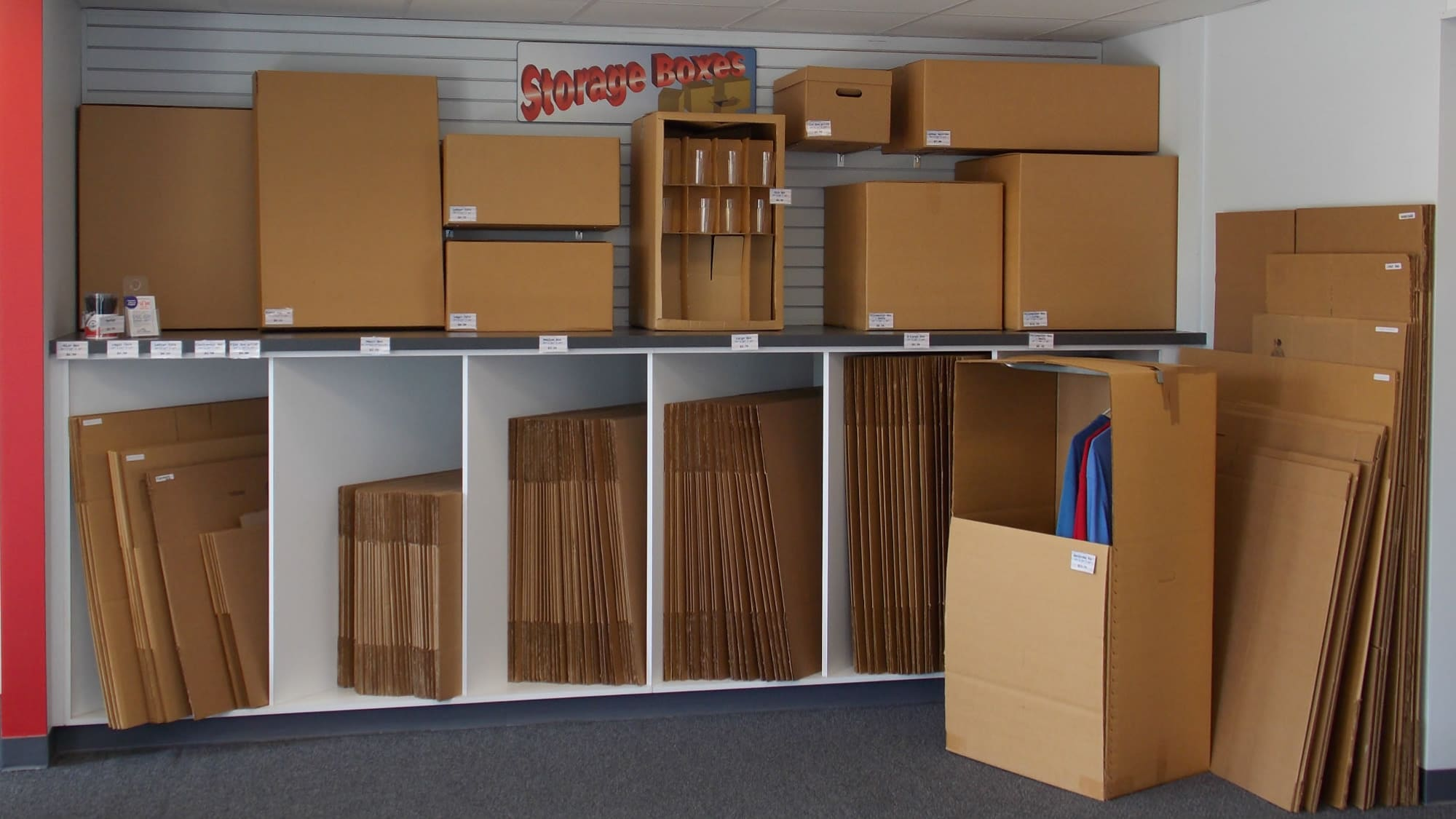 Boxes for sale at Air and Space Self Storage in Chantilly, VA