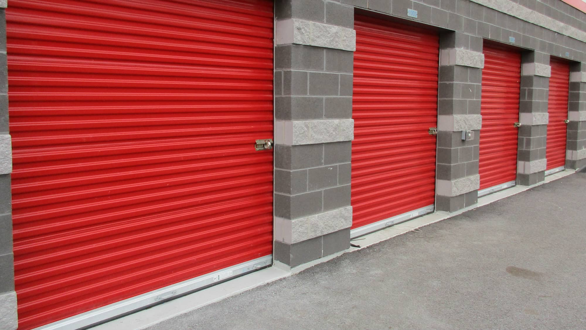 Roll-up doors on our units at Freestate Self Storage in Laurel, Maryland