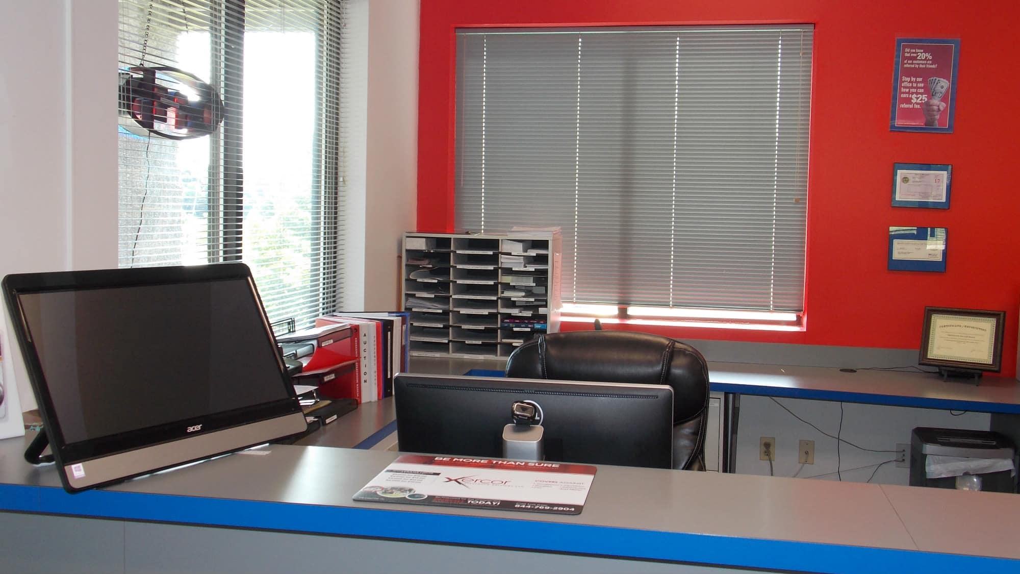 Leasing desk at Freestate Self Storage in Laurel, Maryland