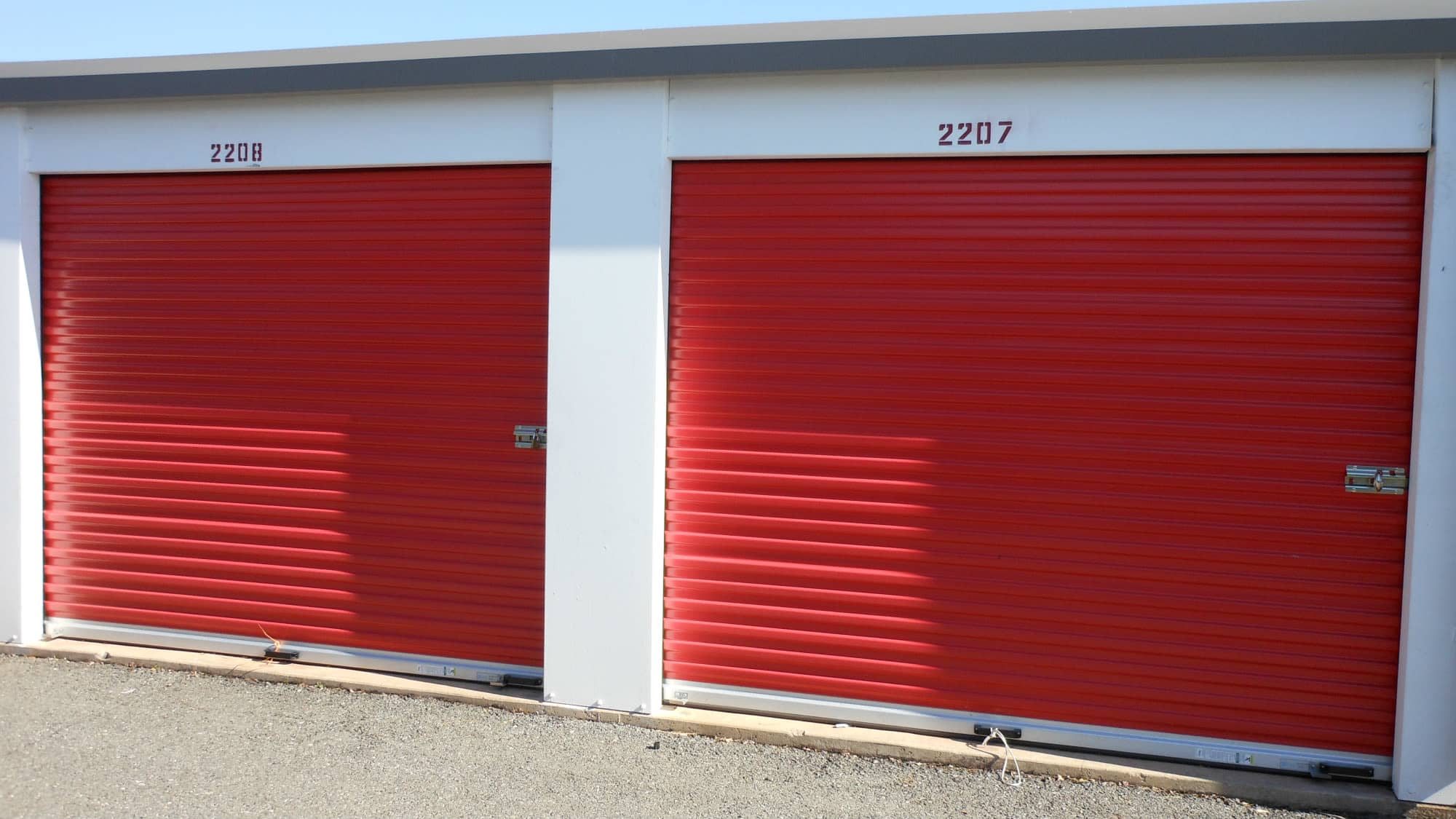 Roll-up doors at Gude Self Storage in Rockville, Maryland
