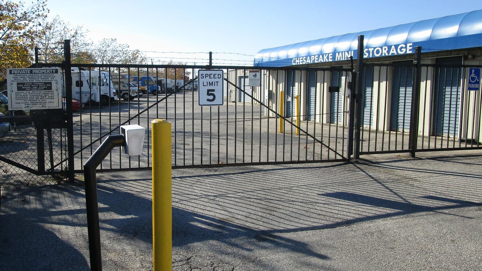 Entrance gate at Self Storage Plus in Middle River, Maryland