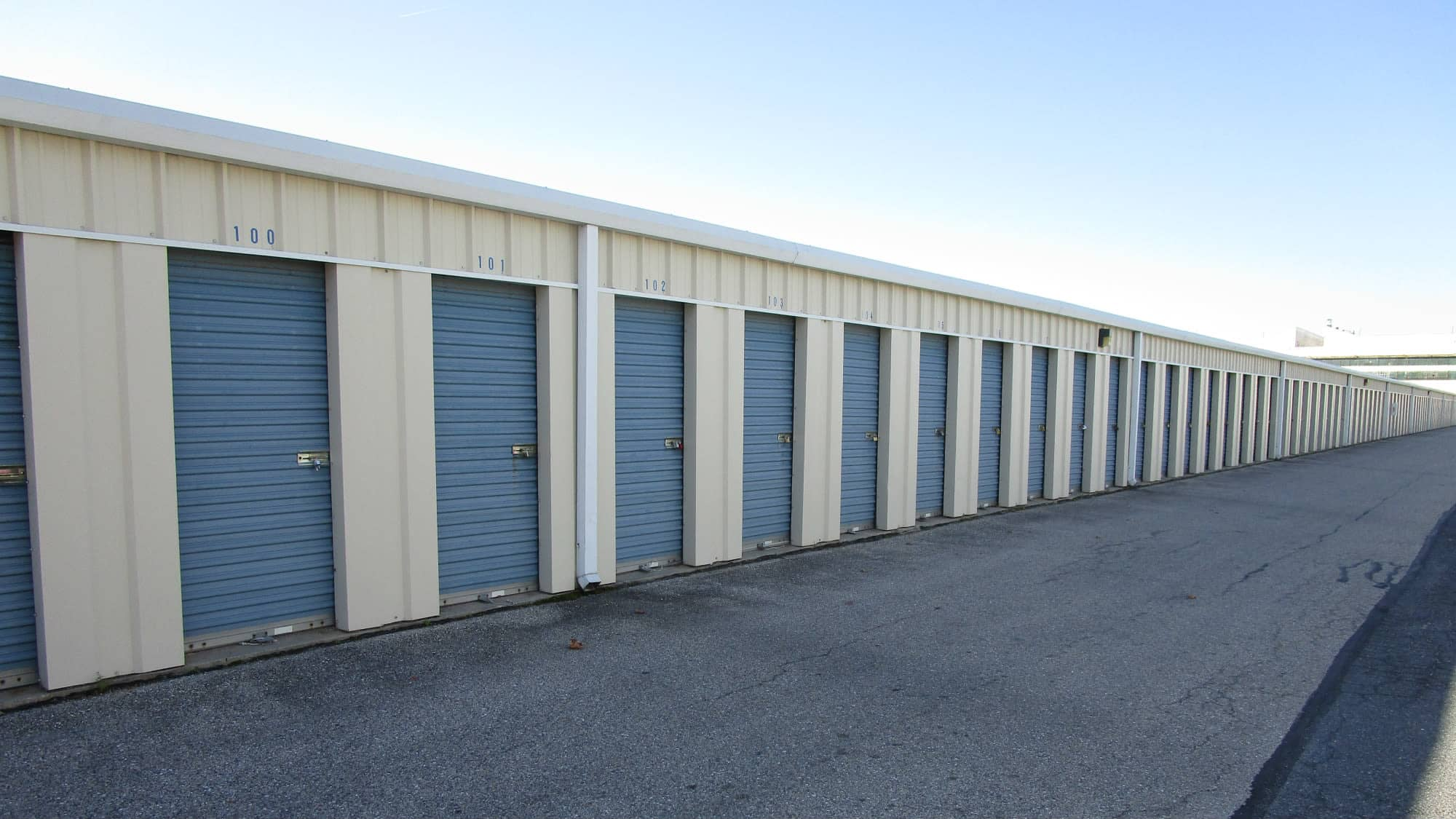 Ground-level units at Self Storage Plus in Middle River, Maryland