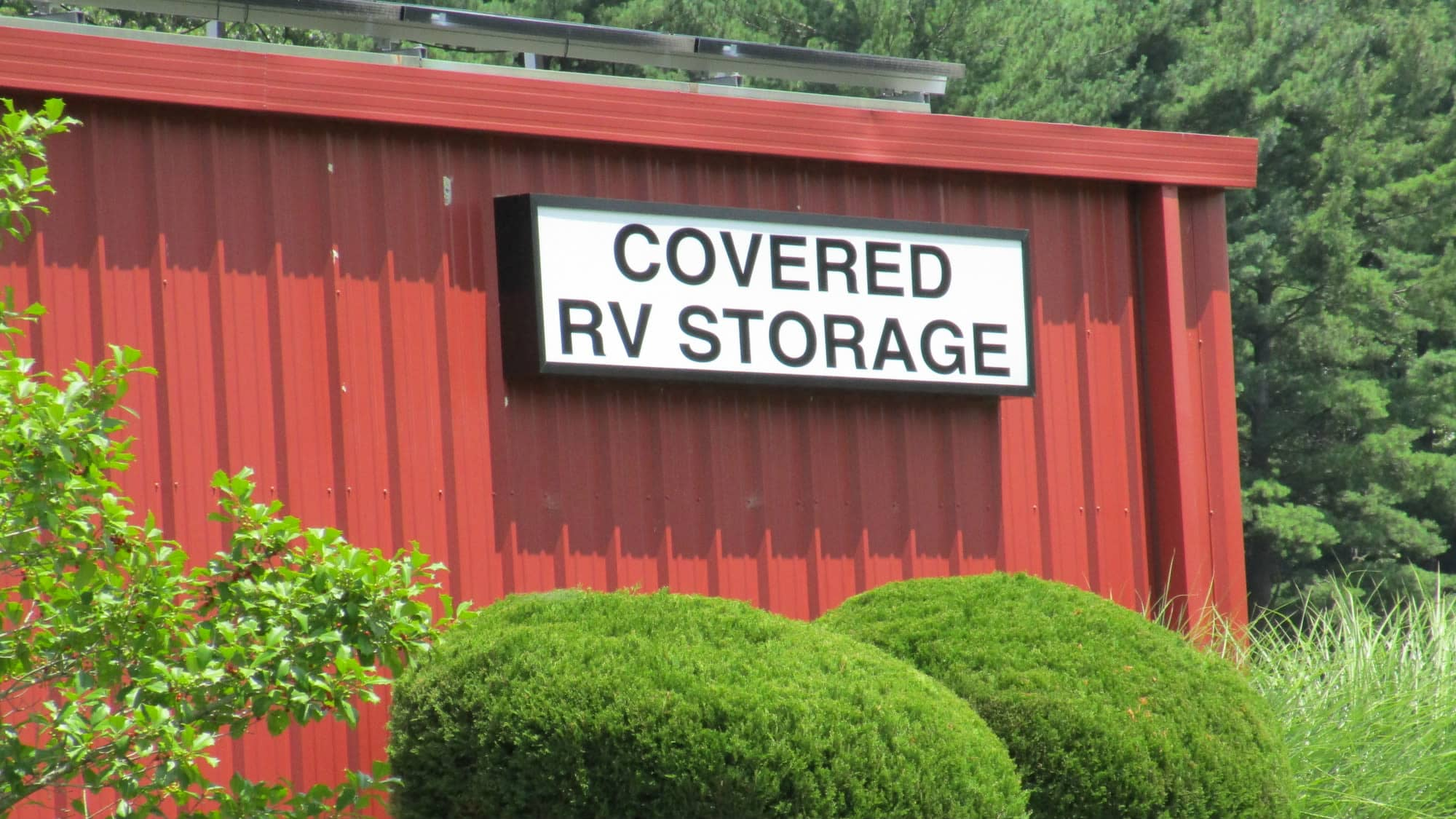 RV storage sign at New Market Mini Storage in New Market, Maryland