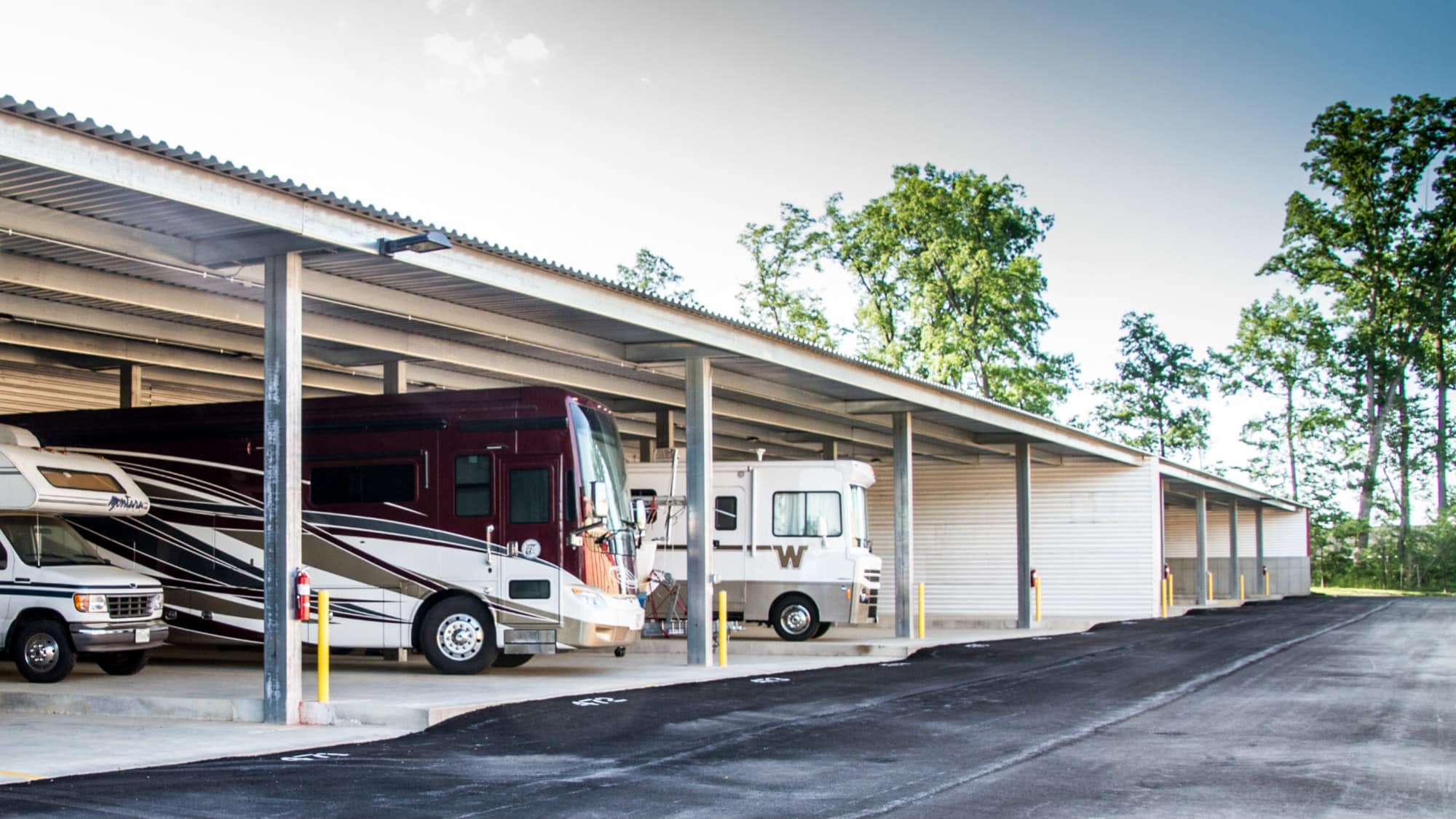 Covered RV parking at New Market Mini Storage in New Market, Maryland