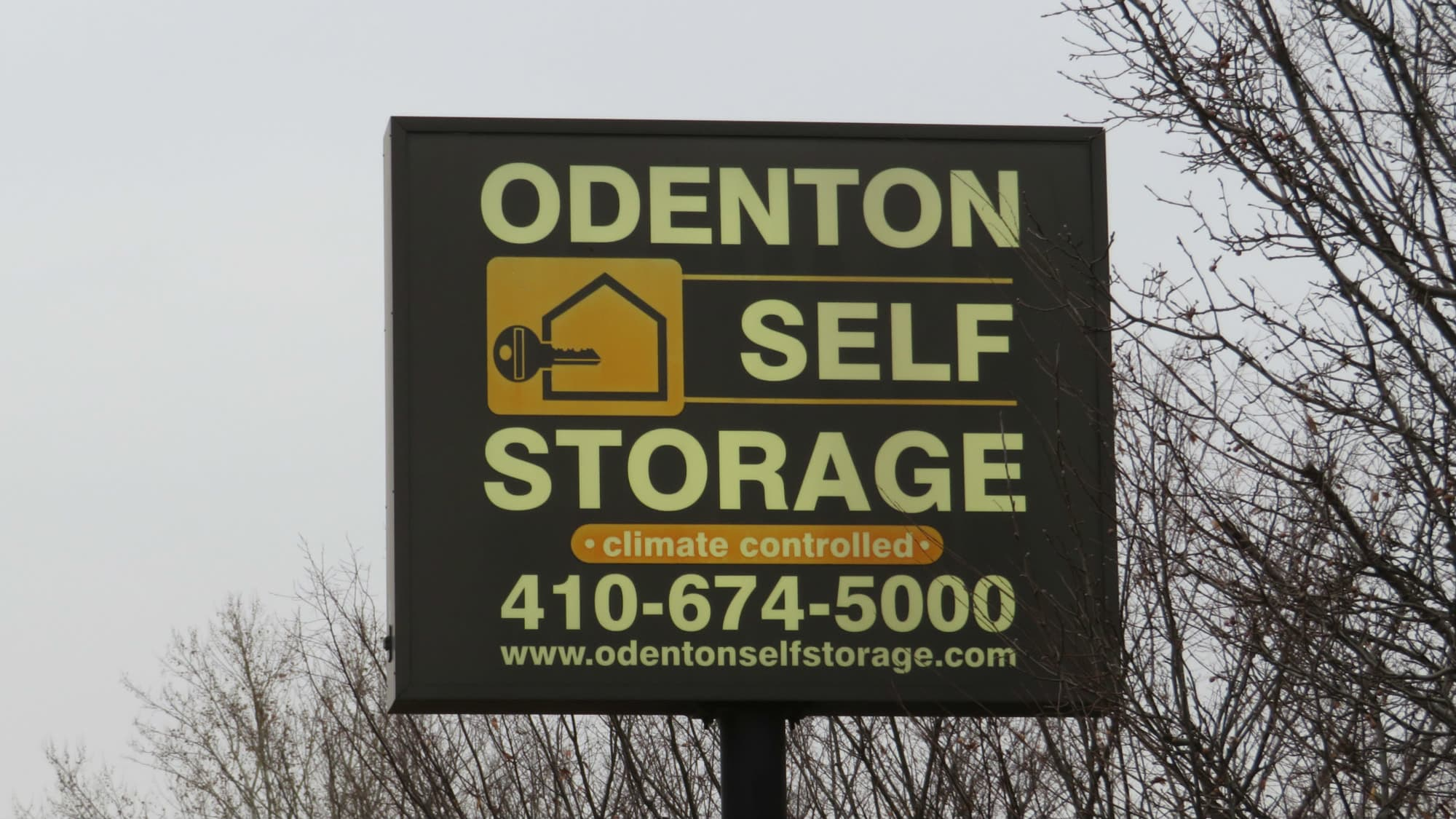 Welcome sign at Odenton Self Storage in Odenton, Maryland