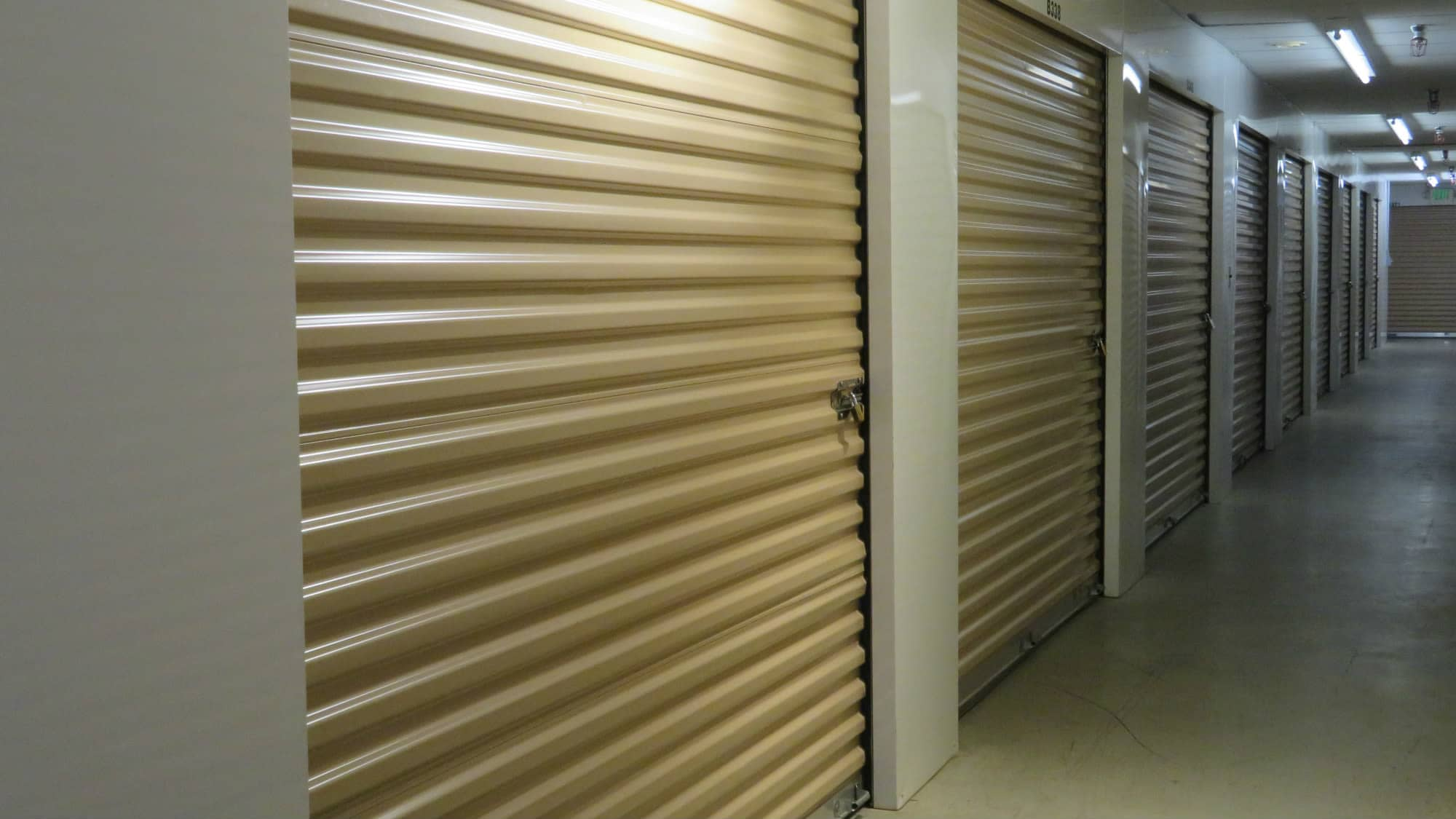 Roll-up doors on units at Odenton Self Storage in Odenton, Maryland
