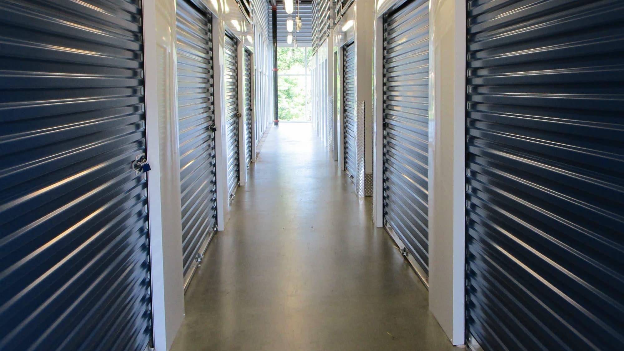 Well-lit halls at Park 'N' Space Self Storage in Manassas, Virginia