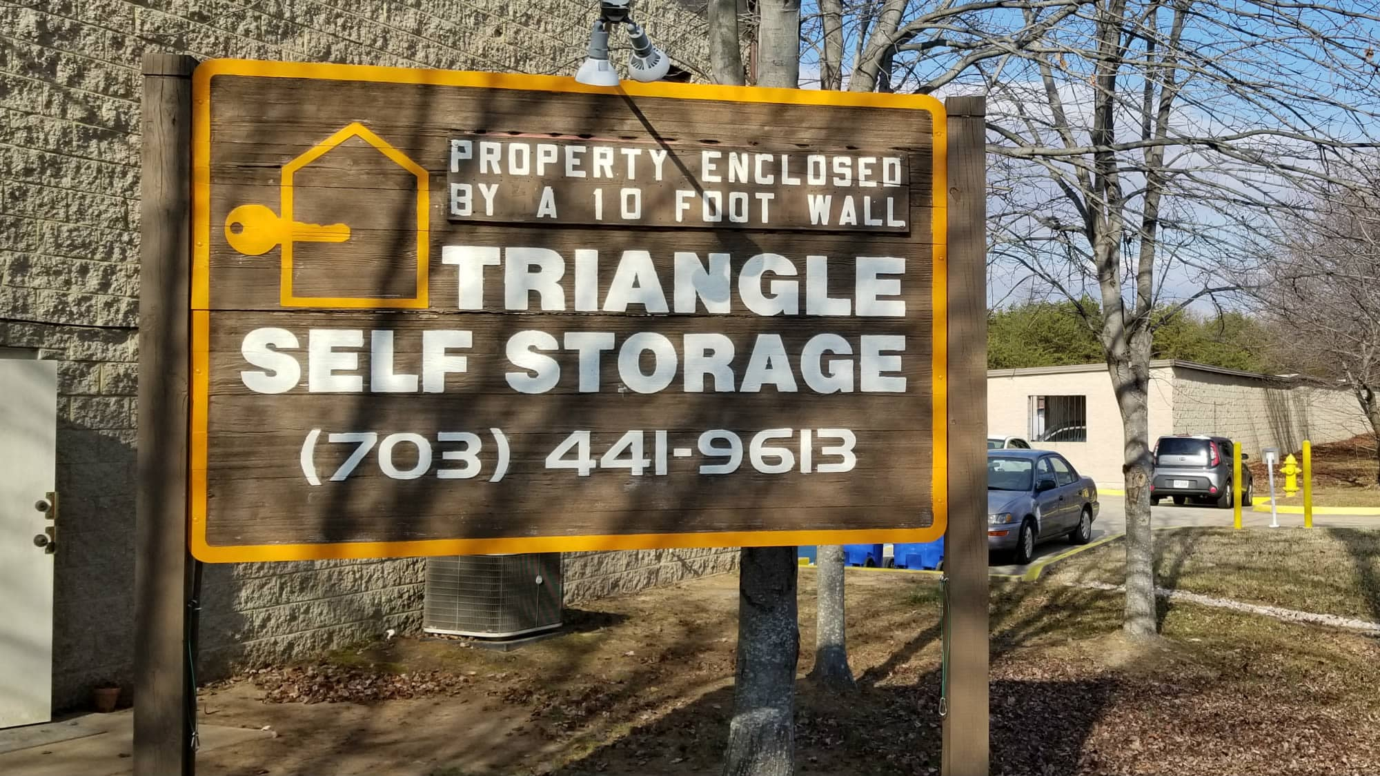 Welcome sign at Triangle Self Storage in Triangle, Virginia
