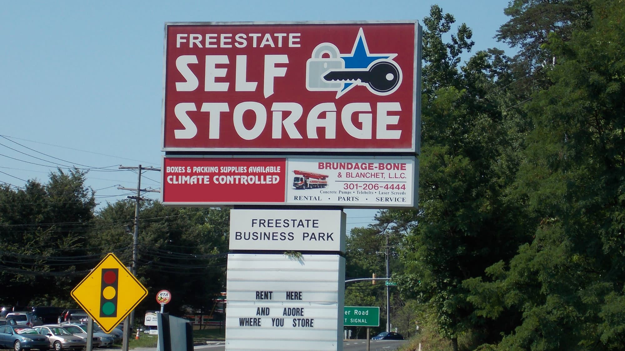Welcome sign at Freestate Self Storage in Laurel, Maryland