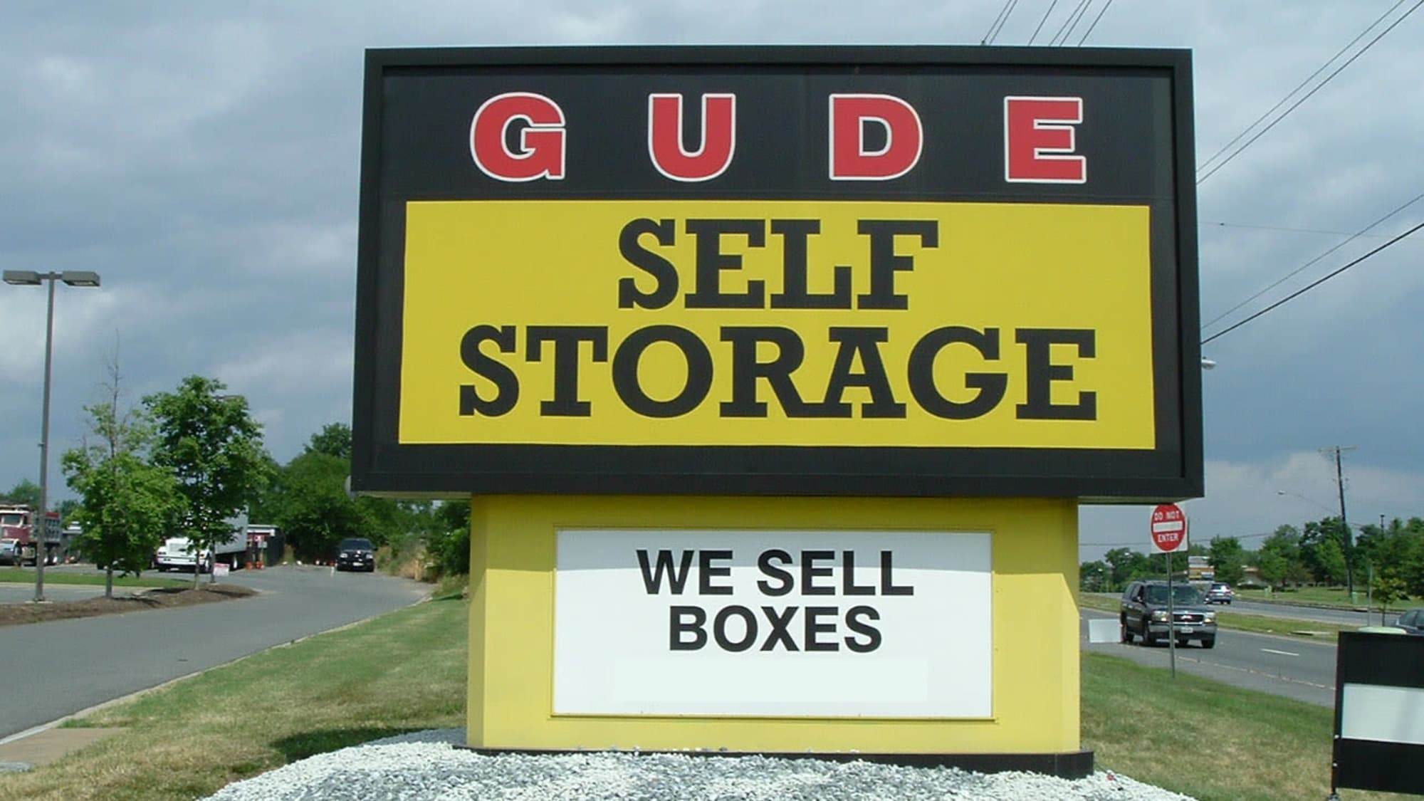 Welcome sign at Gude Self Storage in Rockville, Maryland