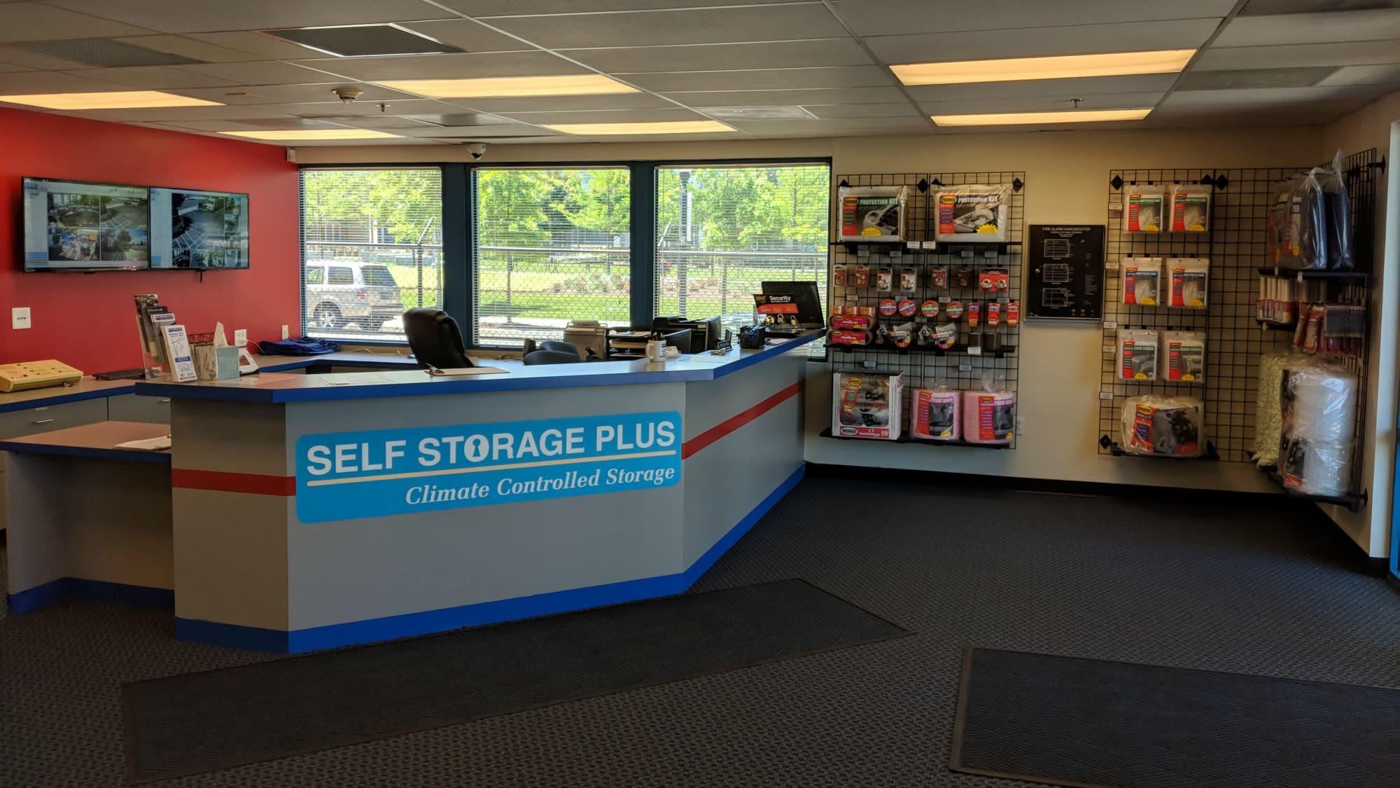 Leasing desk at Self Storage Plus in Arlington, VA