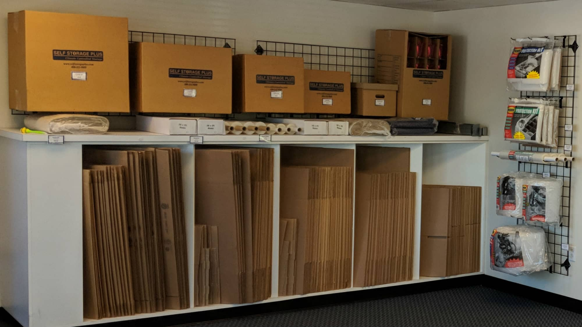 Boxes and supplies sold at Self Storage Plus in Arlington, VA