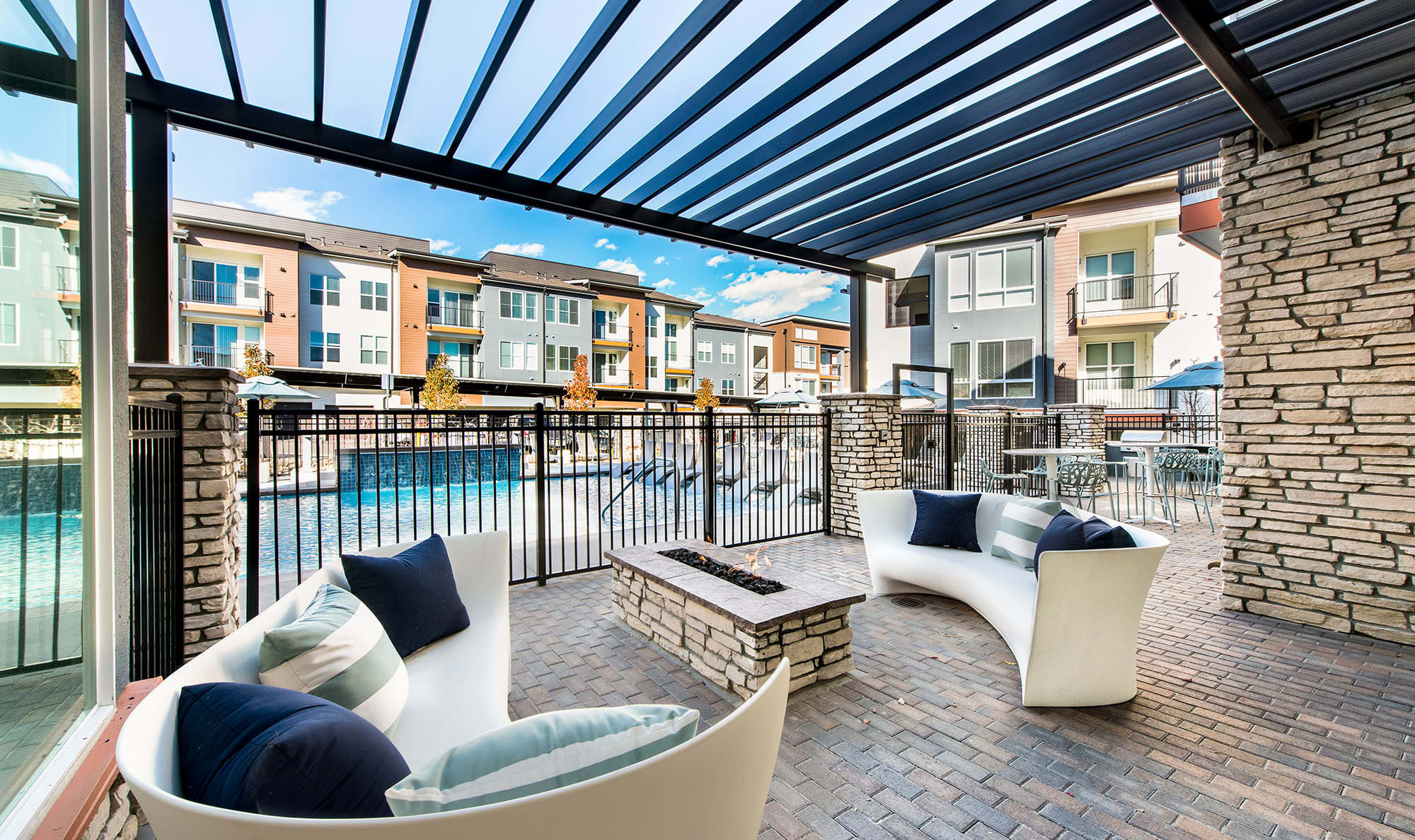Lounge area at the pool at Elevate in Englewood, Colorado