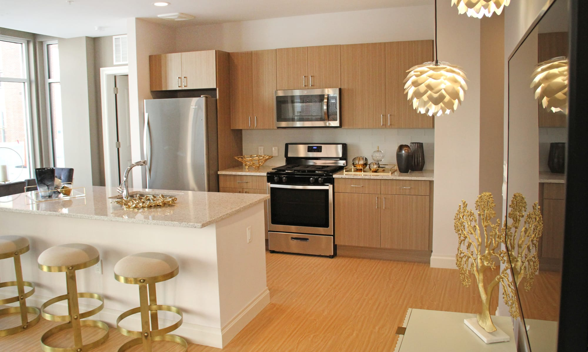 Kitchen in model home at The Harper at Harmon Meadow
